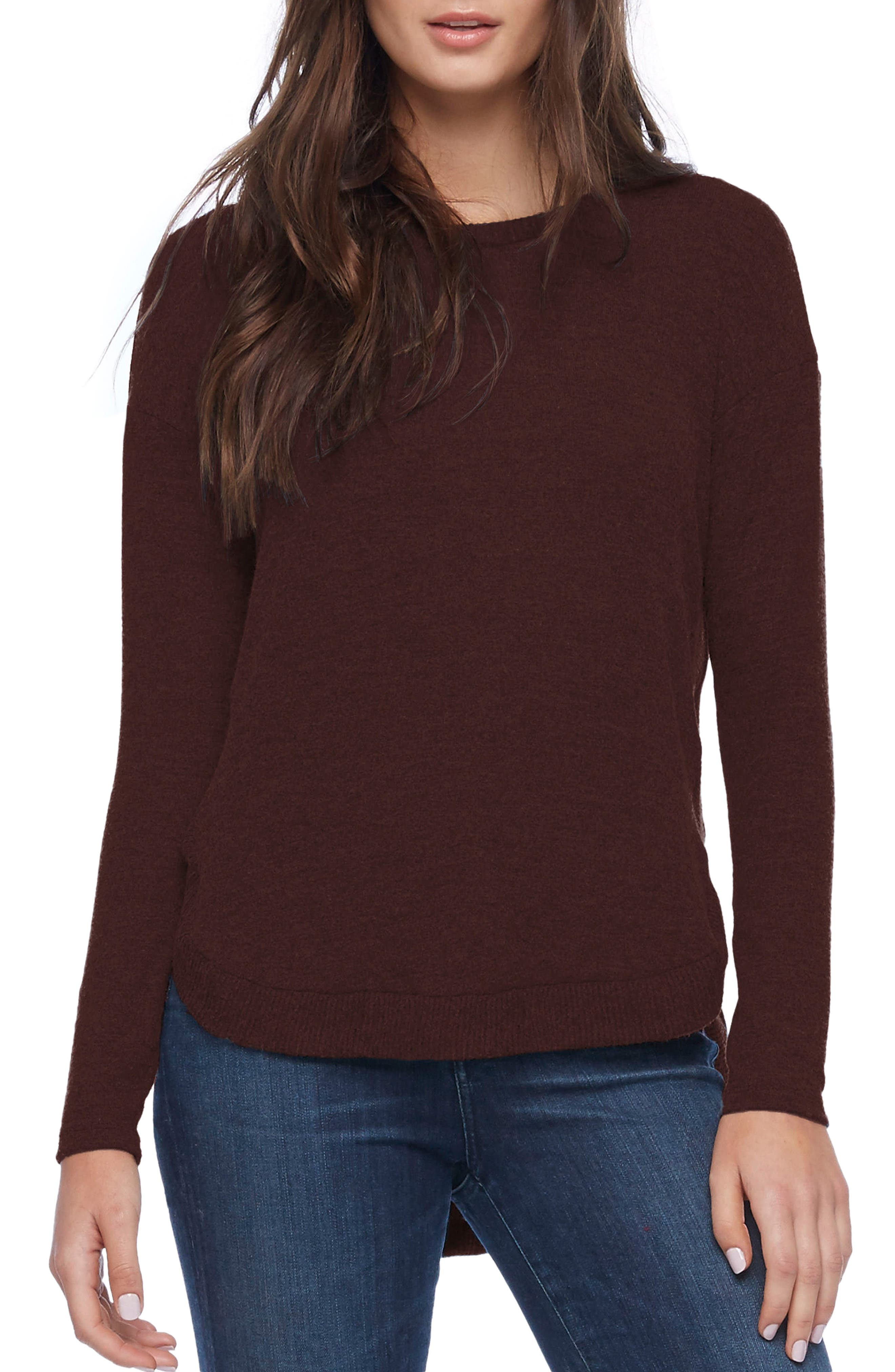 Shirttail Hem Sweater,                         Main,                         color, Bourbon