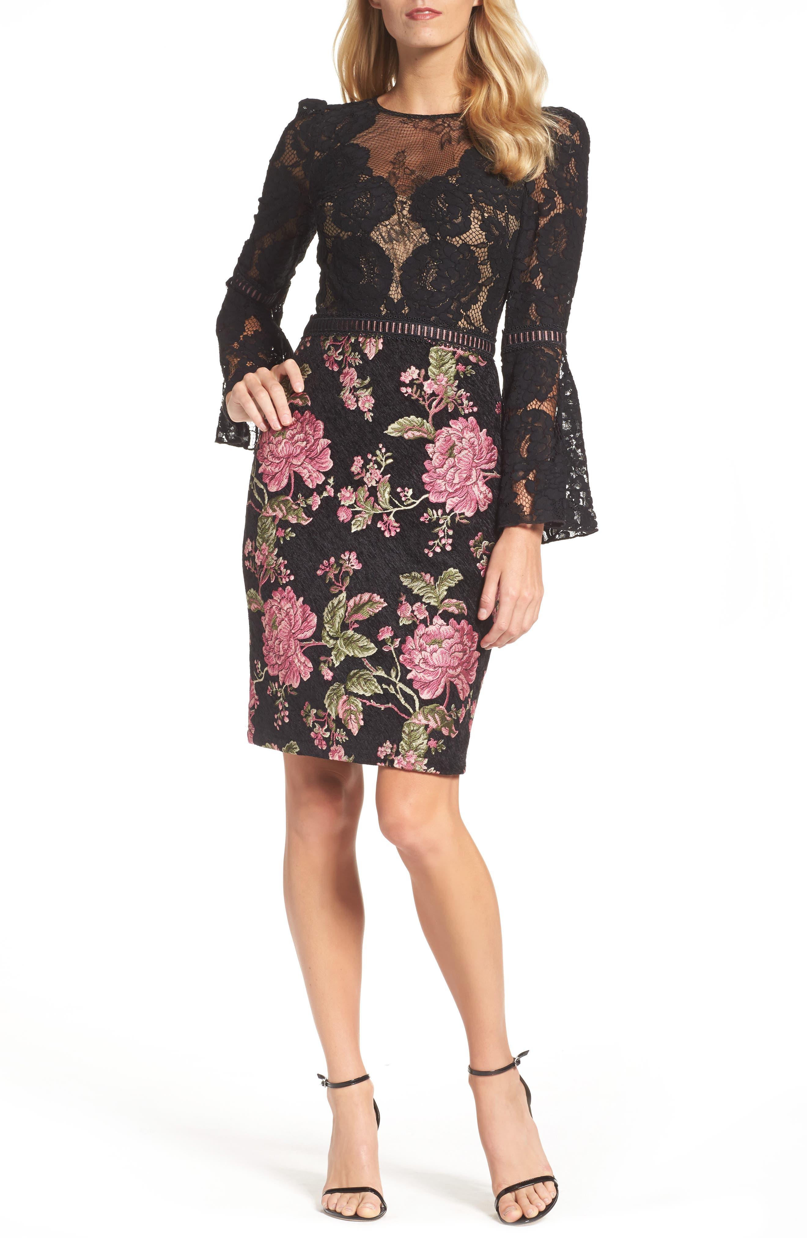 Lace & Brocade Sheath Dress,                             Main thumbnail 1, color,                             Black