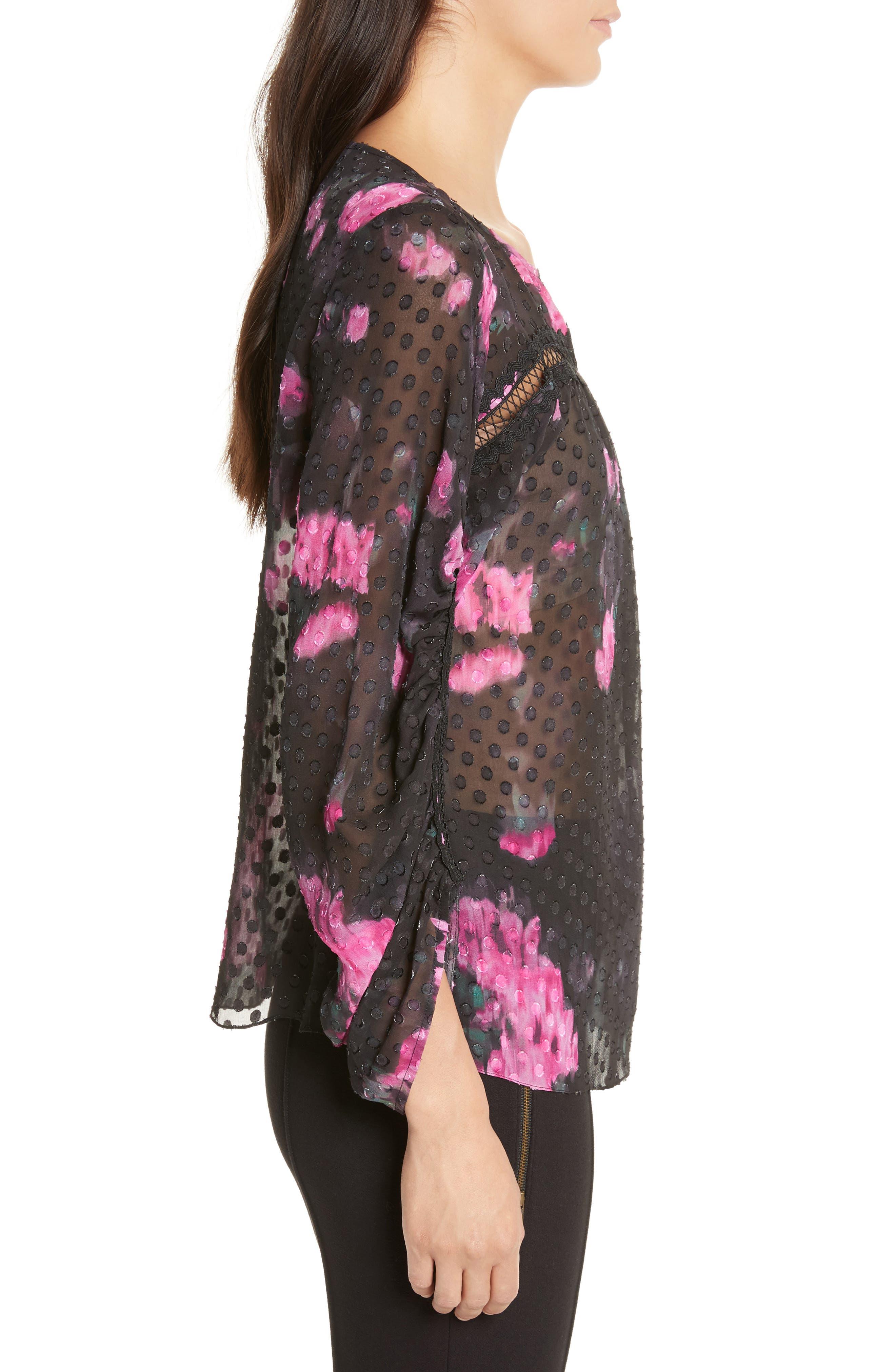 Floral Silk Blouse,                             Alternate thumbnail 3, color,                             Black/ Cactus Warp Floral