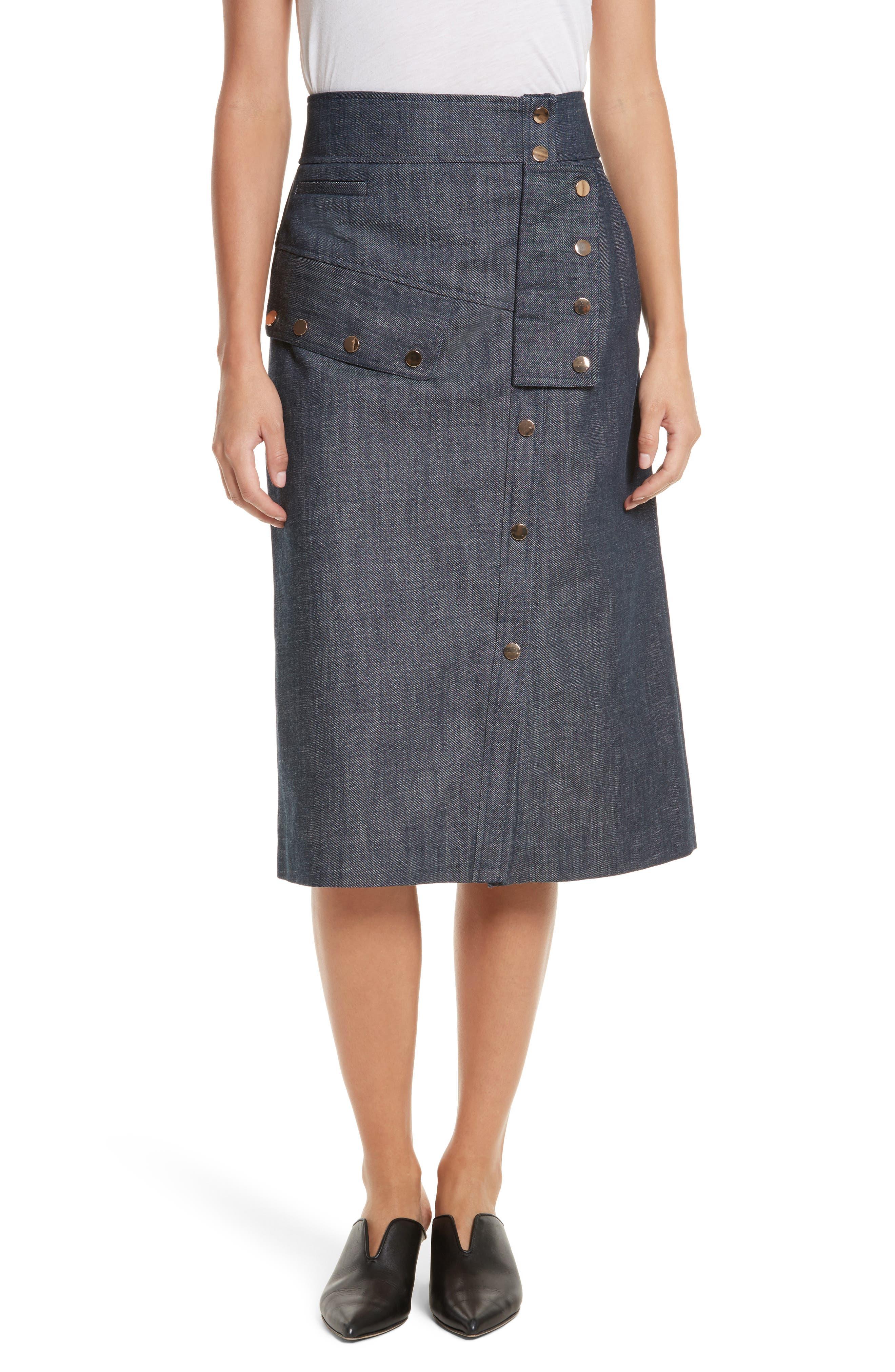 Snap Front Raw Denim Skirt,                         Main,                         color, Marine Denim