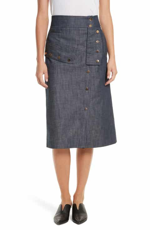 Tibi Snap Front Raw Denim Skirt