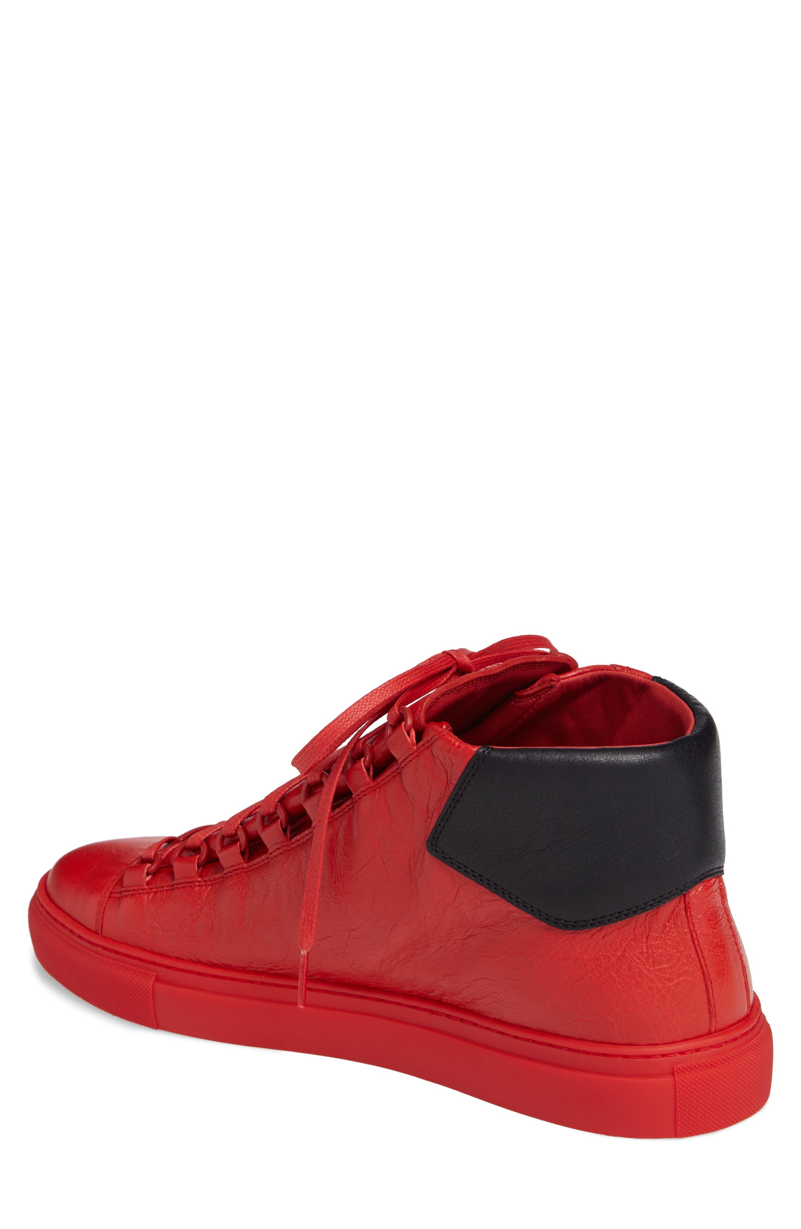 Arena High Sneaker,                             Alternate thumbnail 2, color,                             Rouge Paprika/ Noir Leather
