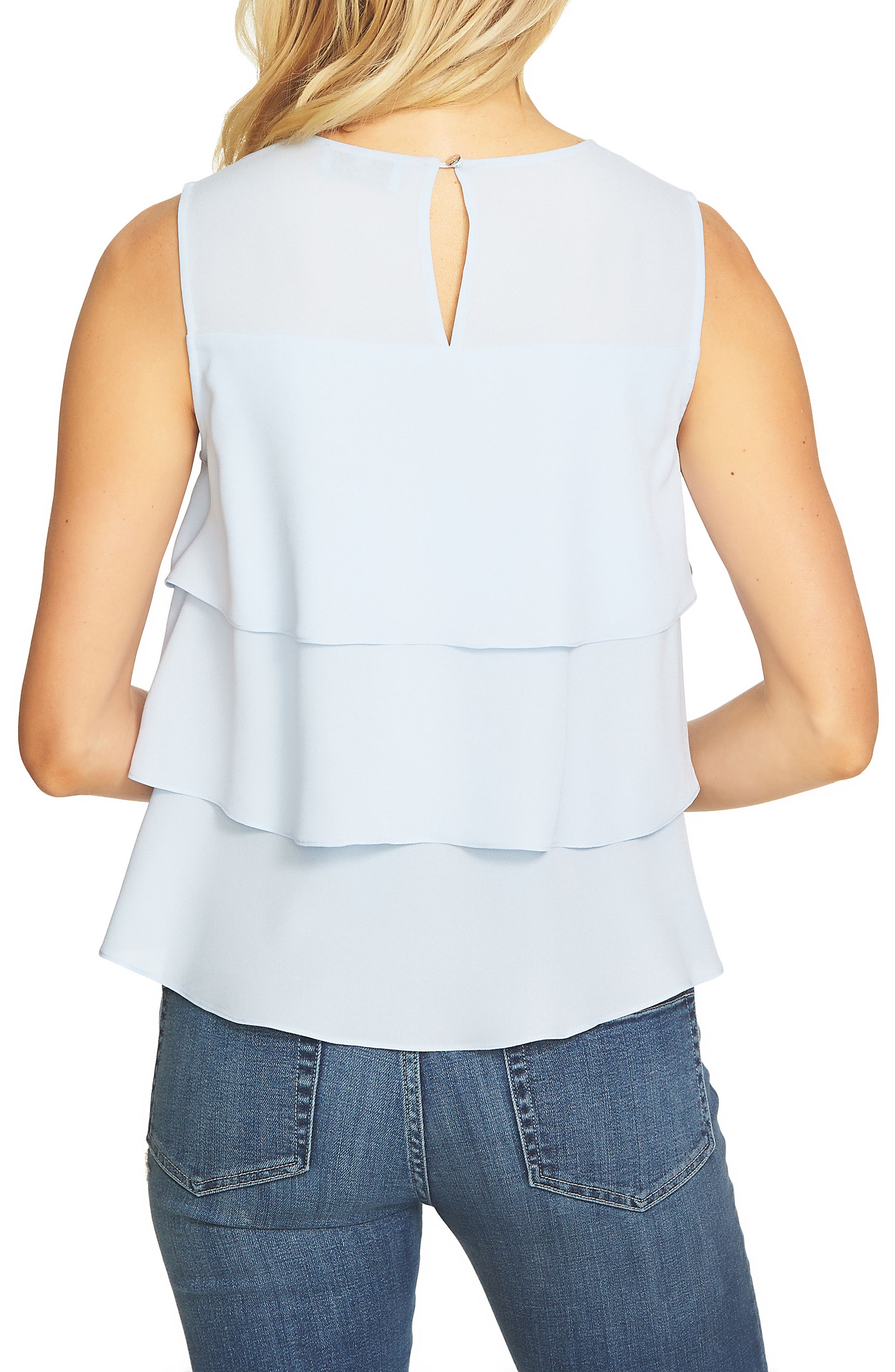 Tiered Ruffle Crepe Top,                             Alternate thumbnail 2, color,                             Ocean Breeze
