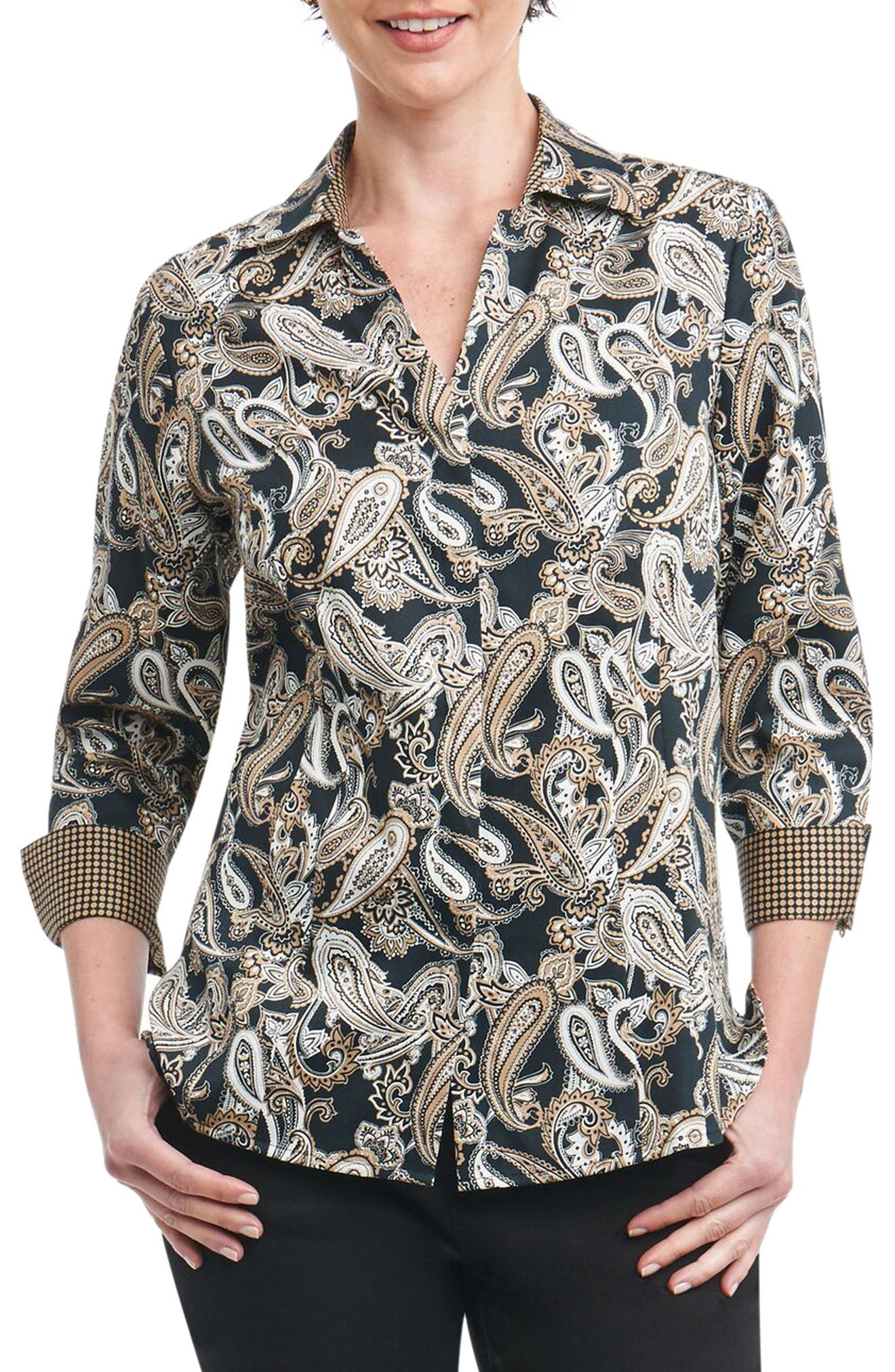 Taylor Heritage Paisley Wrinkle Free Shirt,                             Main thumbnail 1, color,                             Neutral