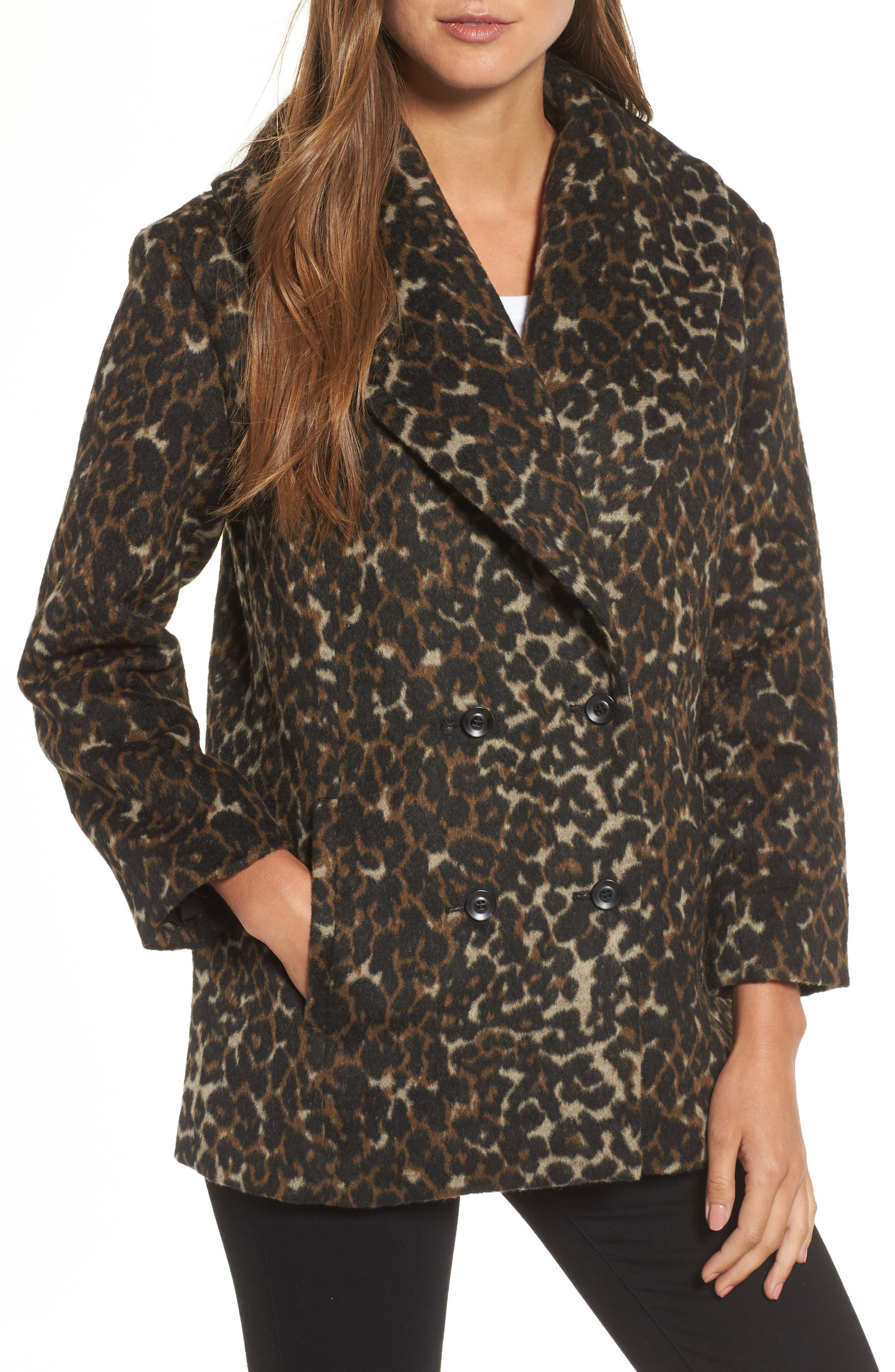 Animal Print Coat,                         Main,                         color, Black Wild Melton