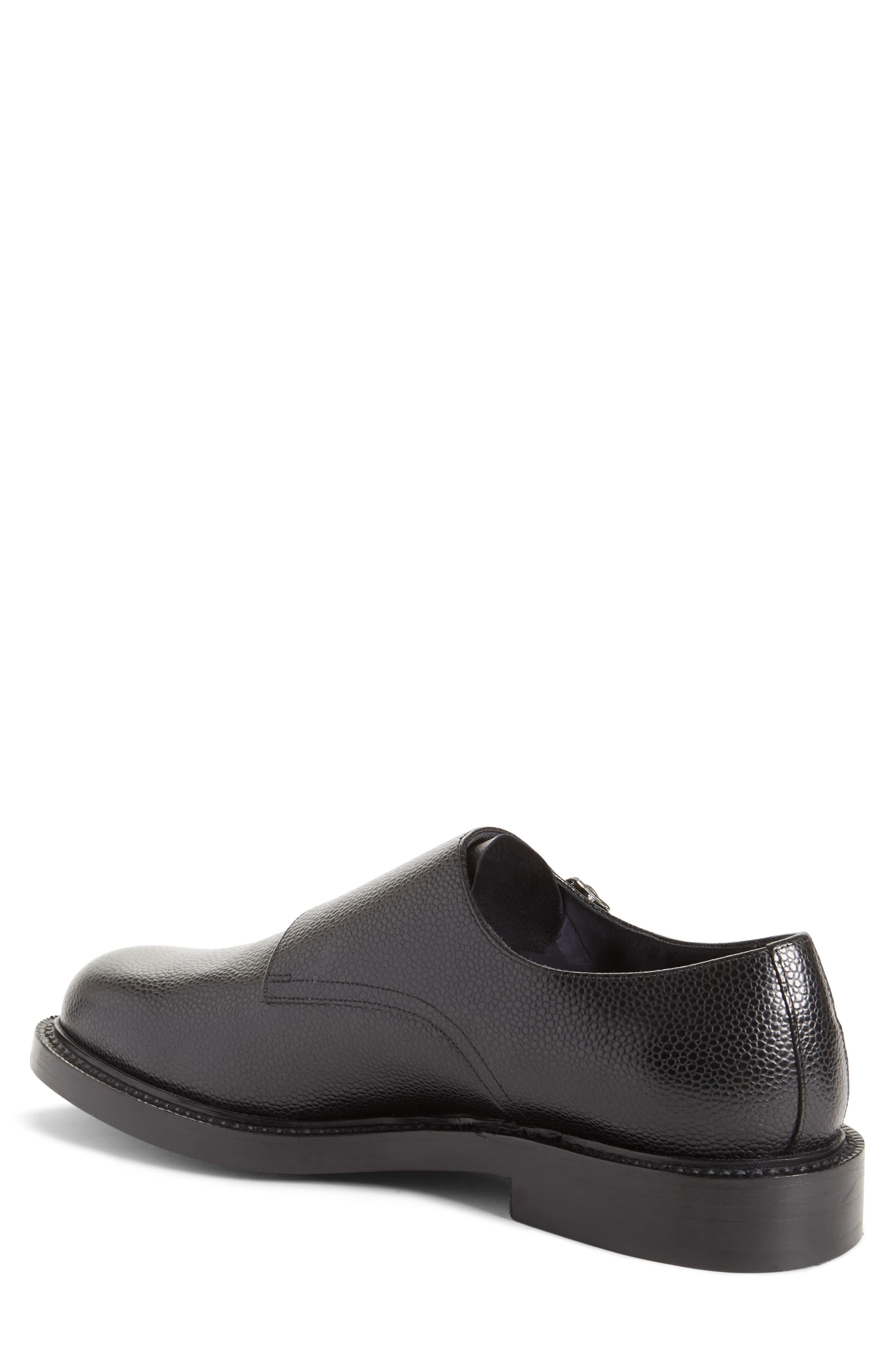 Hova Double Monk Strap Shoe,                             Alternate thumbnail 2, color,                             Black Leather