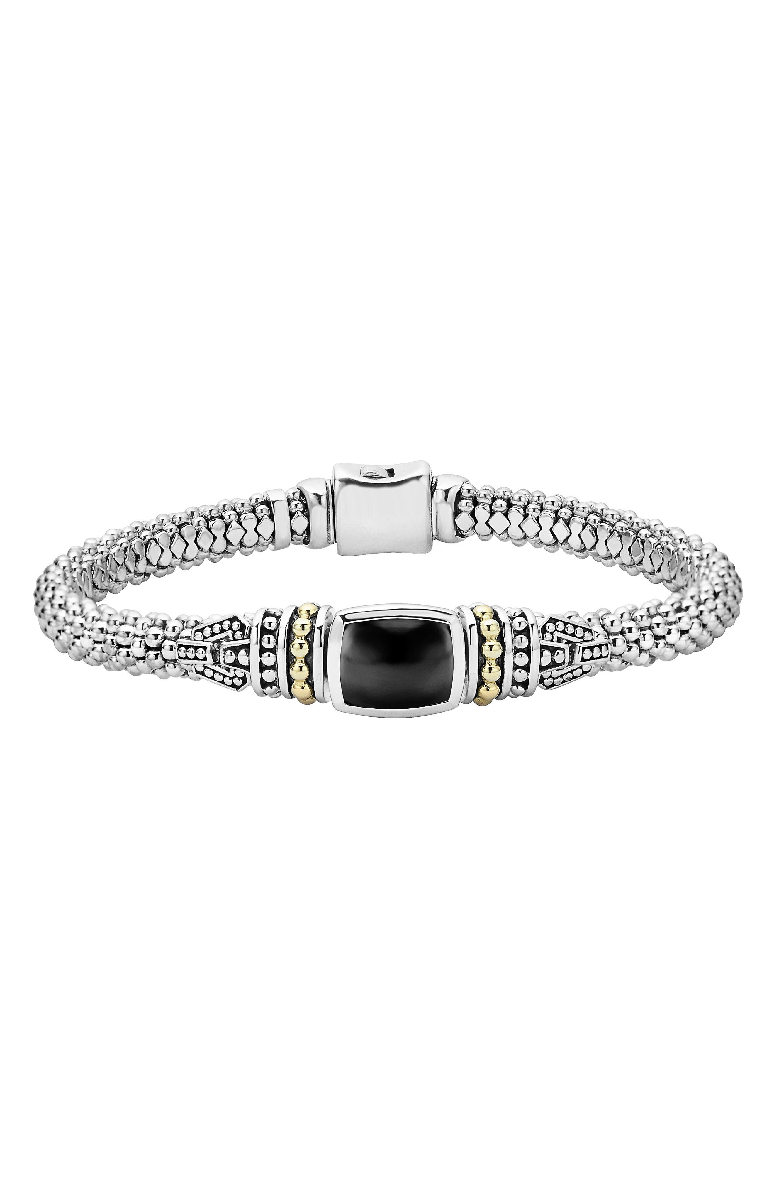 'Caviar Color' Semiprecious Stone Bracelet,                             Main thumbnail 1, color,                             Black Onyx