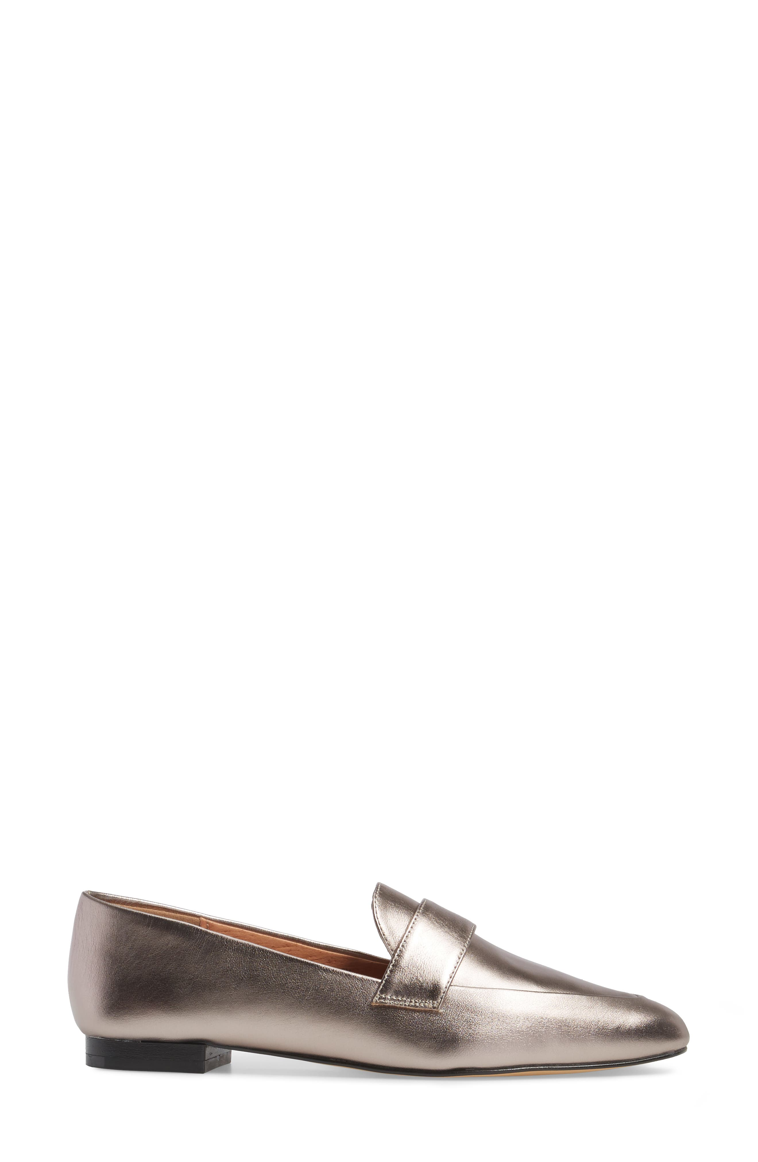 Camille Loafer,                             Alternate thumbnail 3, color,                             Pewter Metallic Leather