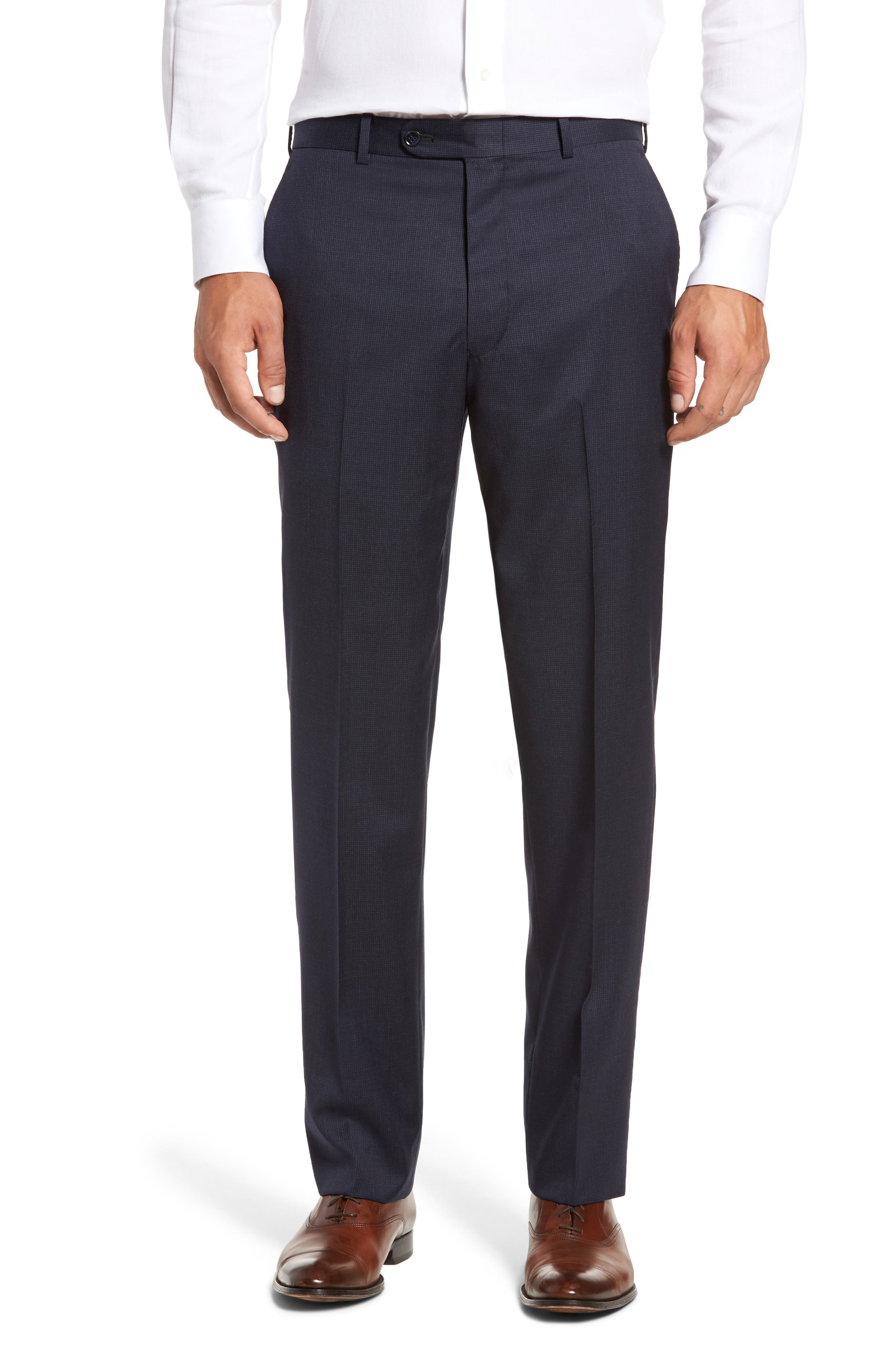 Flynn Classic Fit Check Wool Suit,                             Alternate thumbnail 6, color,                             Navy
