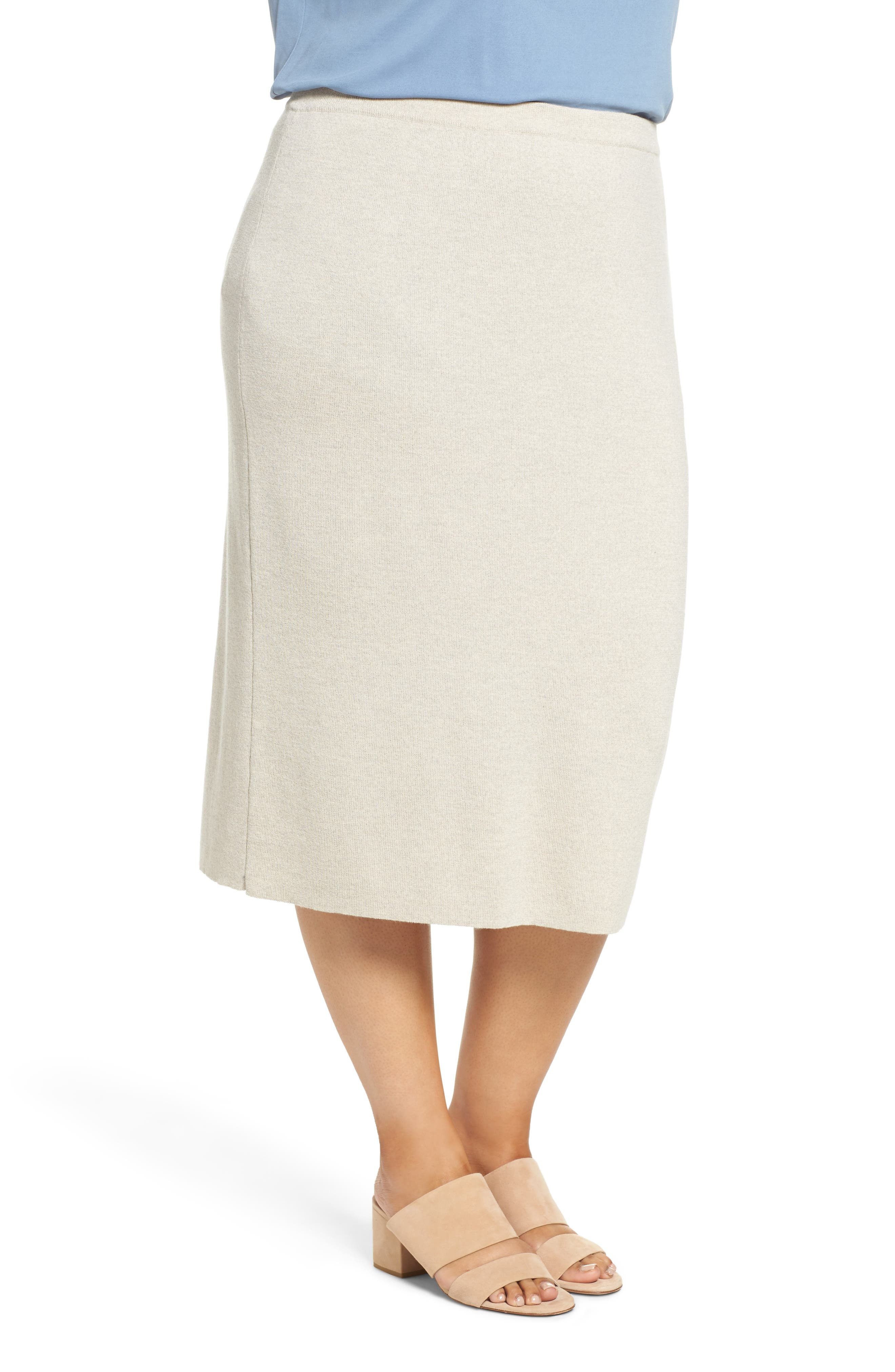 Wool Knit Pencil Skirt,                             Alternate thumbnail 3, color,                             Sea Salt