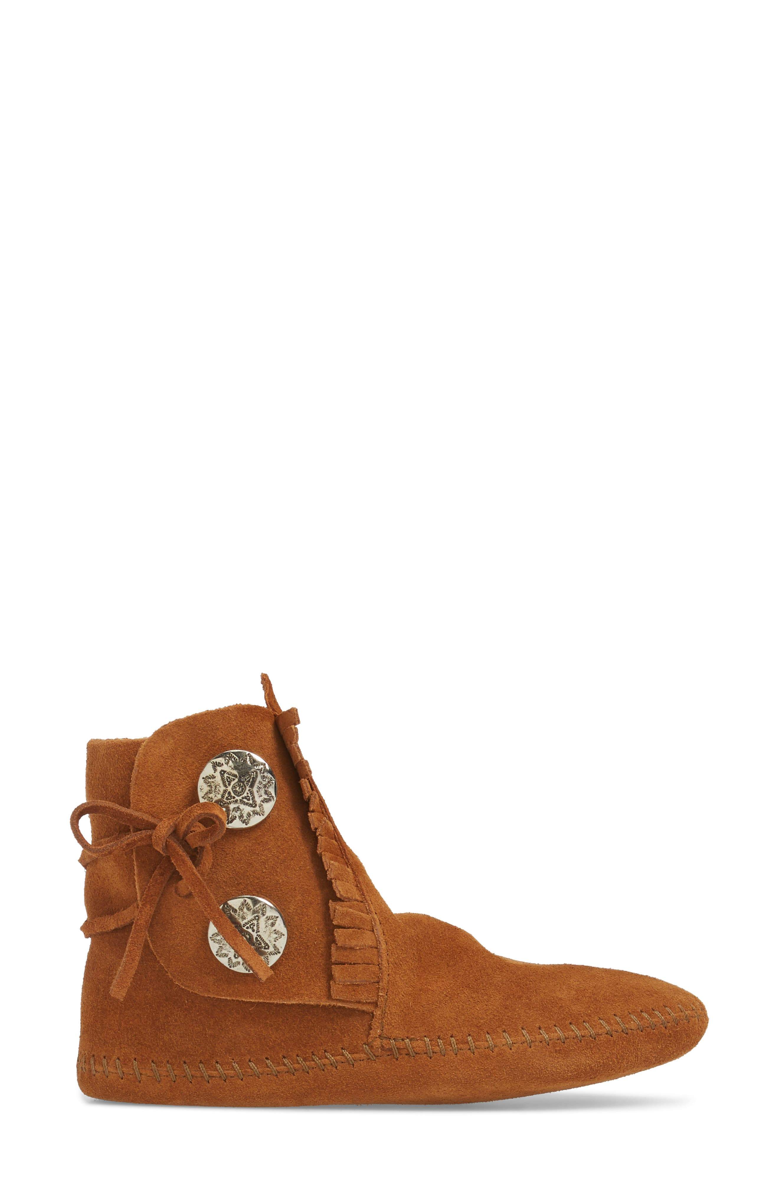 Two-Button Softsole Bootie,                             Alternate thumbnail 3, color,                             Brown
