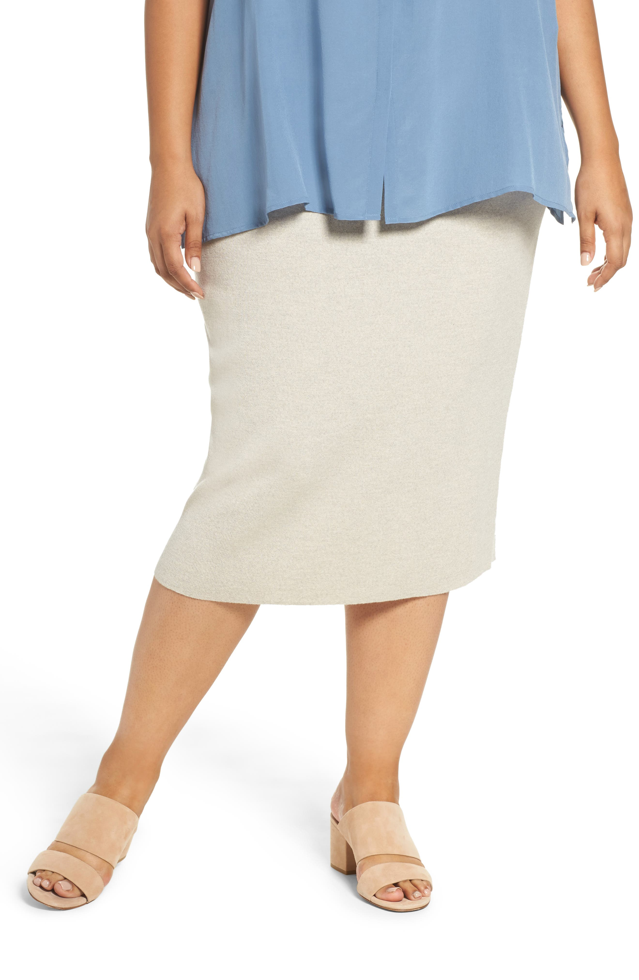 Alternate Image 1 Selected - Eileen Fisher Wool Knit Pencil Skirt (Plus Size)