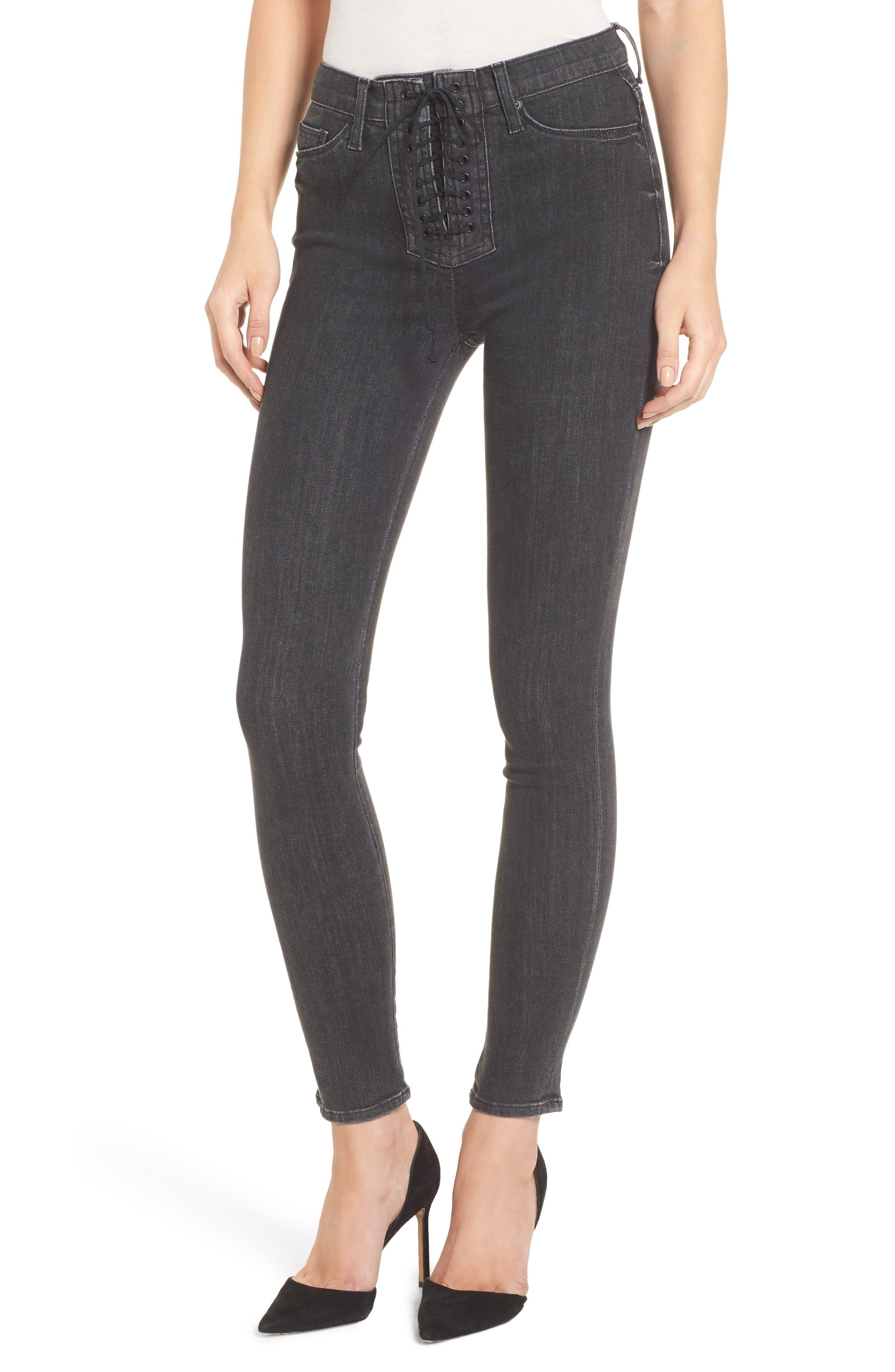 Main Image - Hudson Jeans Bullocks High Waist Lace-Up Skinny Jeans (Disarm)