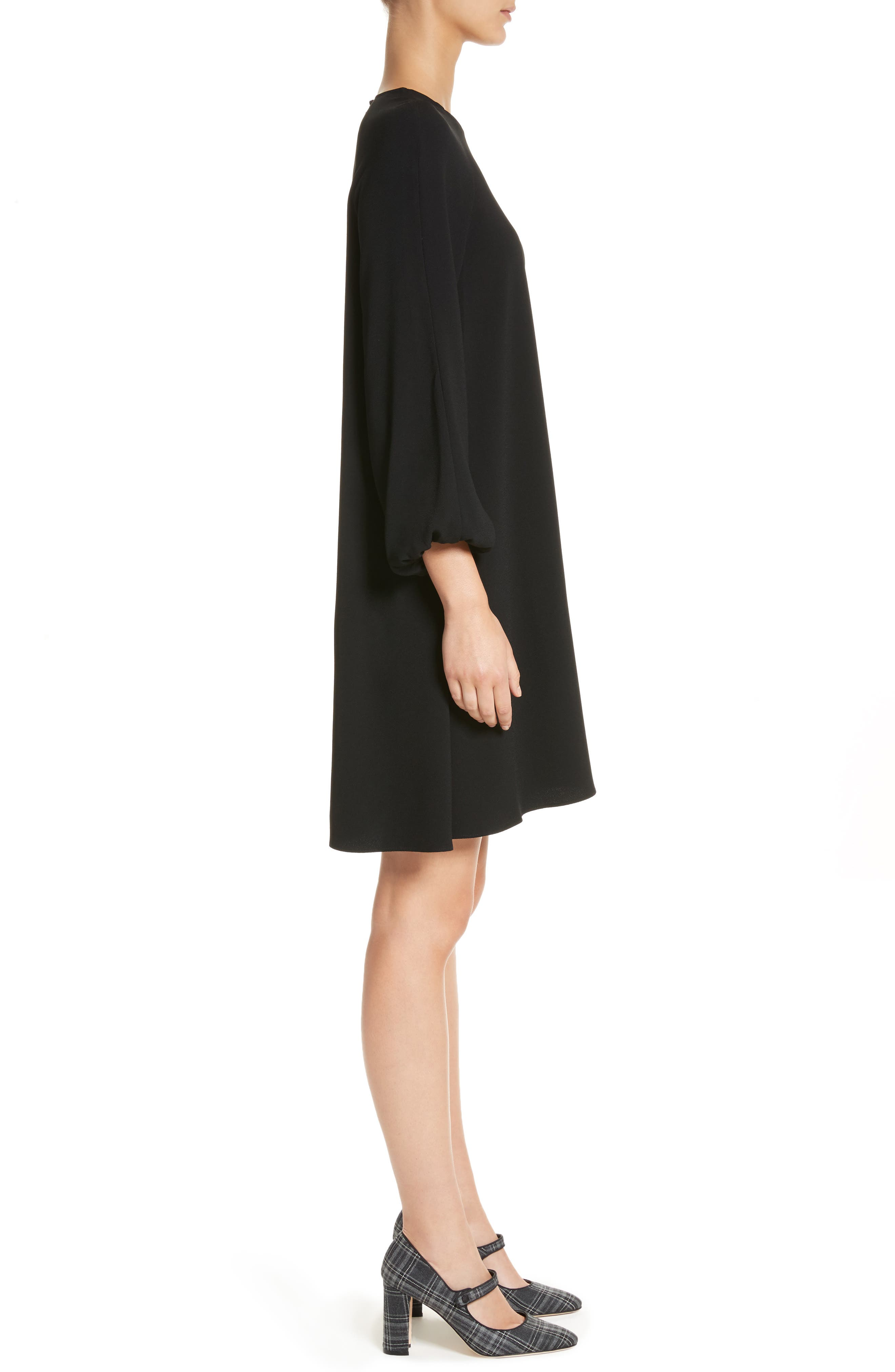 Raglan Sleeve Peasant Dress,                             Alternate thumbnail 3, color,                             Black
