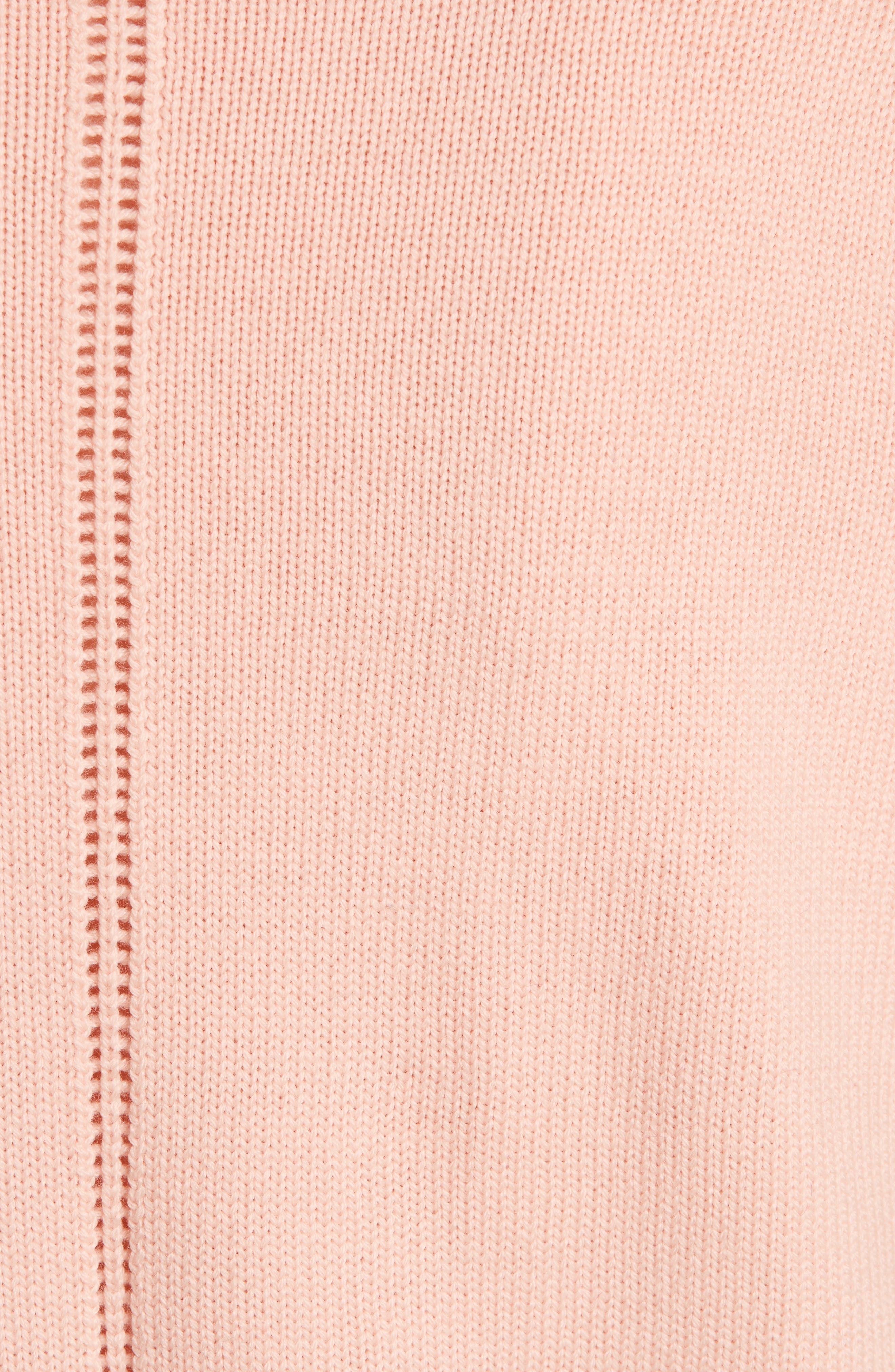 Lace Trim Puff Sleeve Sweater,                             Alternate thumbnail 6, color,                             Blush