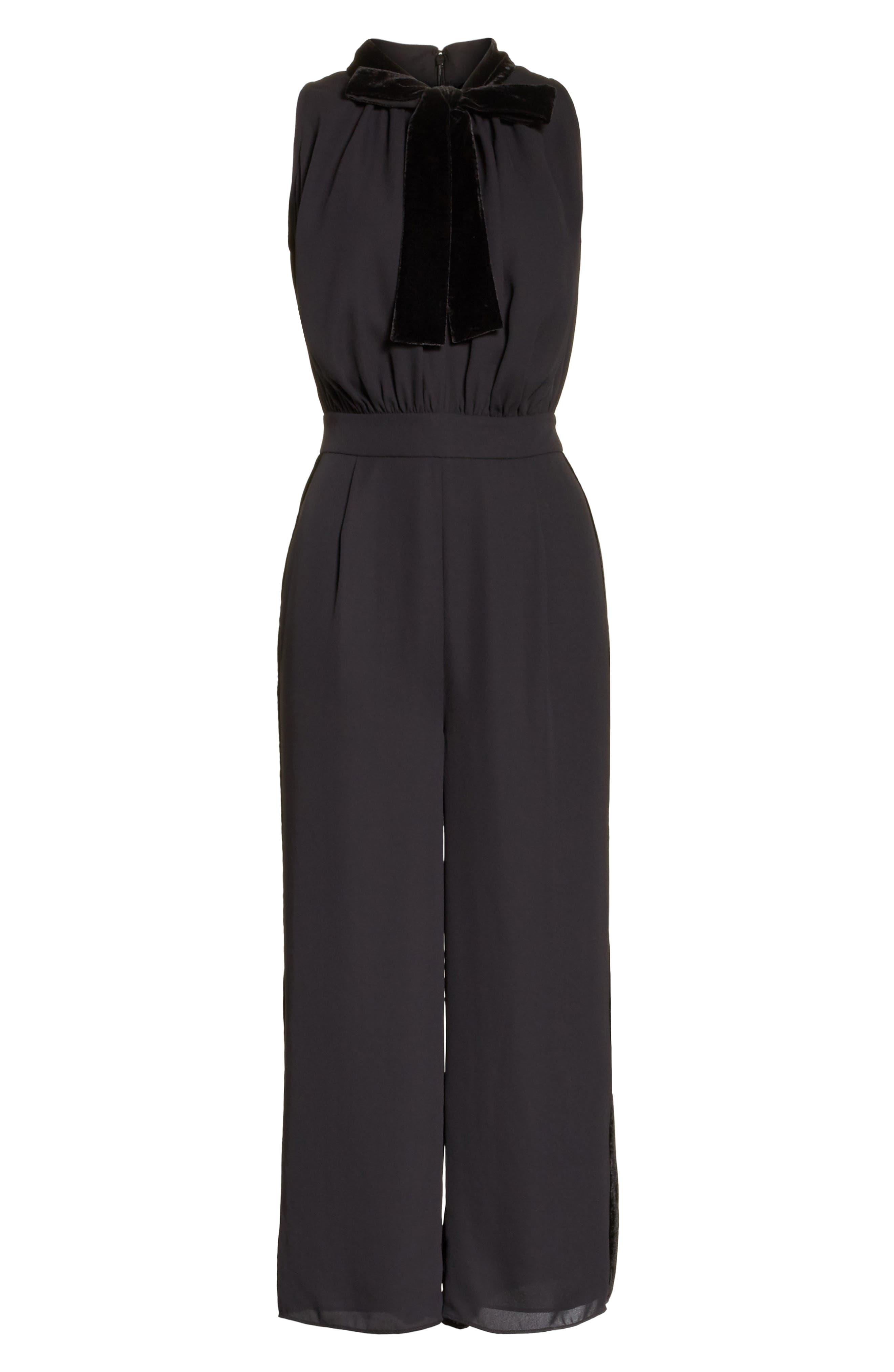 mixed velvet crop jumpsuit,                             Alternate thumbnail 6, color,                             Black