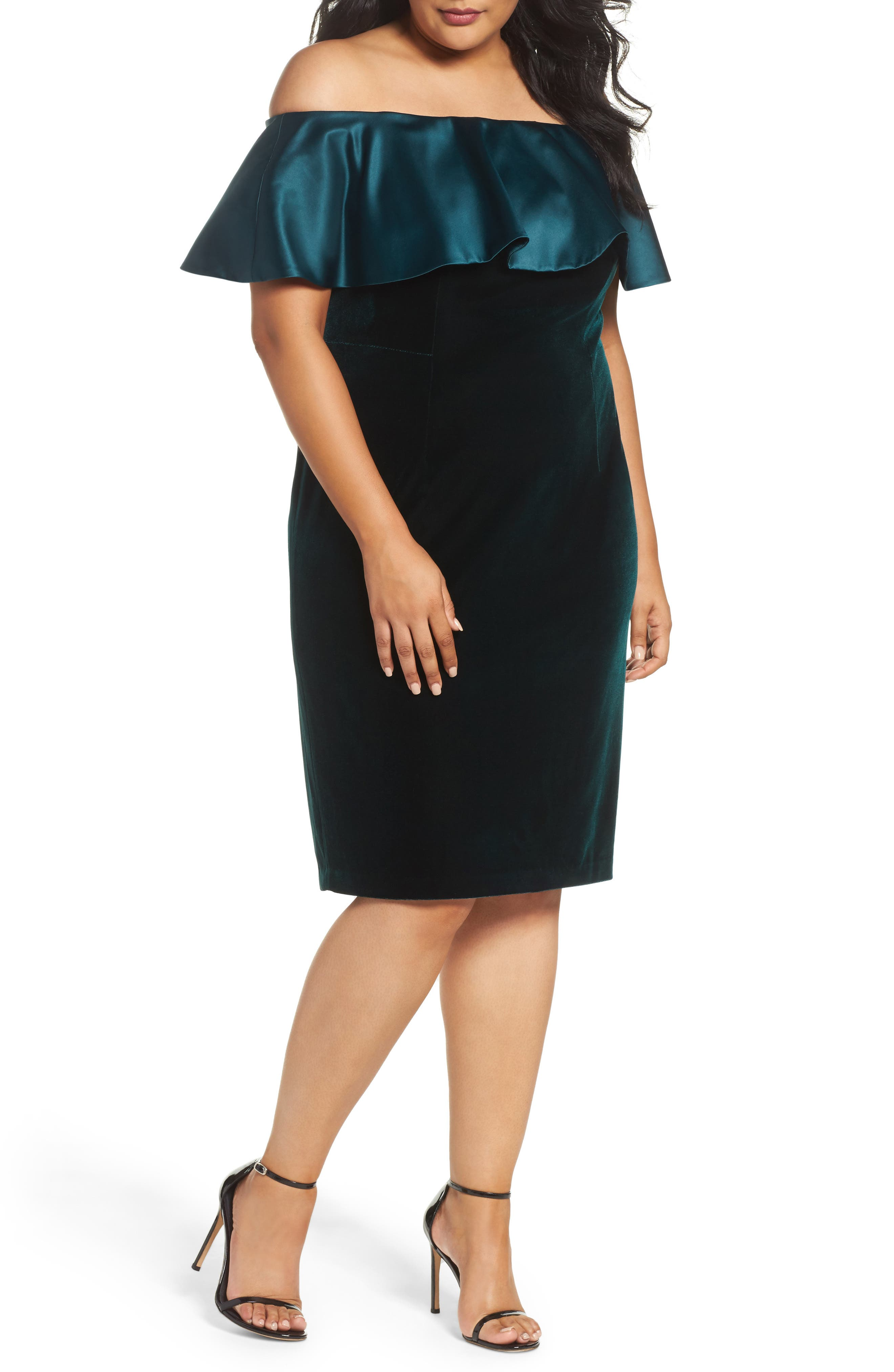 Adriana Papell Stretch Velvet Sheath Dress,                             Main thumbnail 1, color,                             Emerald