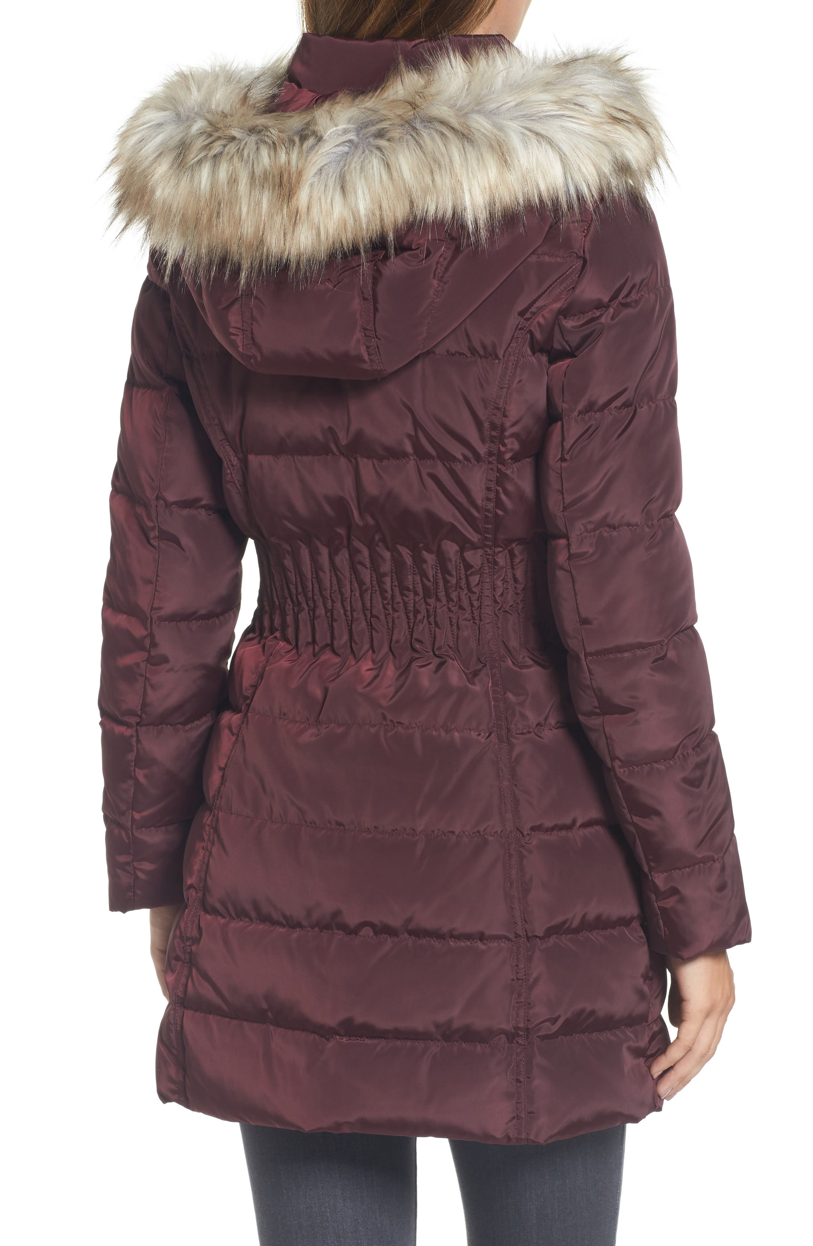 Hooded Quilted Jacket with Faux Fur Trim,                             Alternate thumbnail 2, color,                             Port Royal