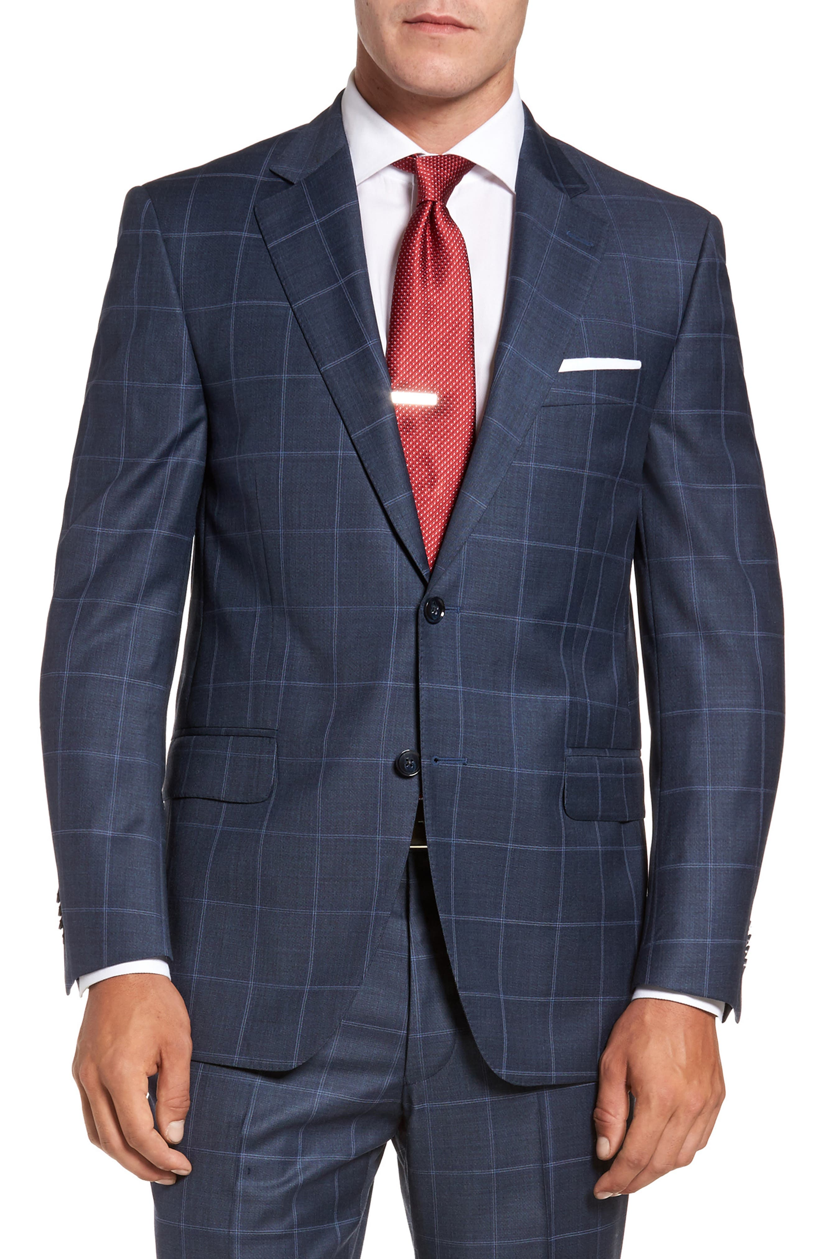 Flynn Classic Fit Windowpane Wool Suit,                             Alternate thumbnail 5, color,                             Blue