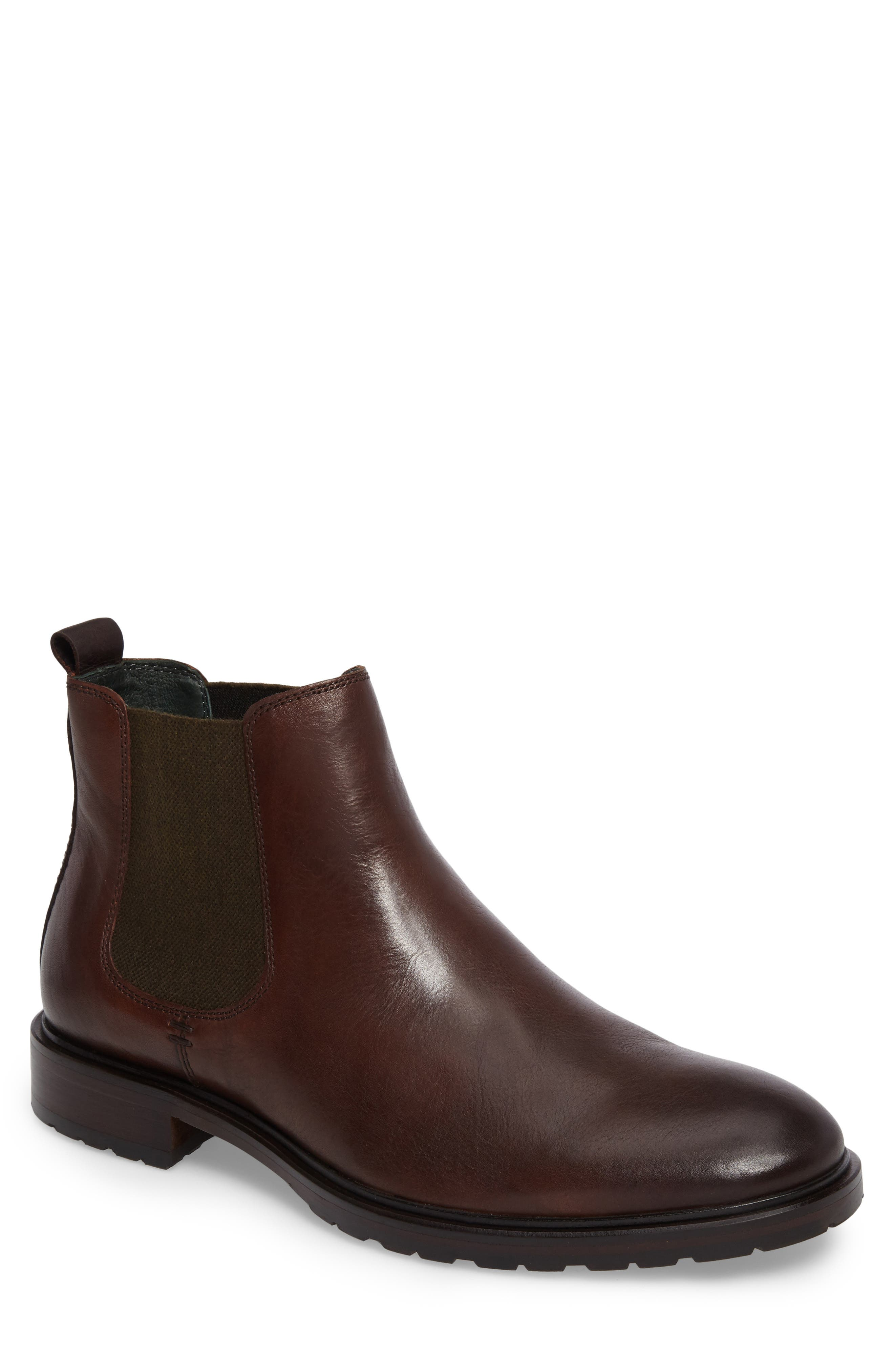 Myles Chelsea Boot,                         Main,                         color, Mahogany Leather