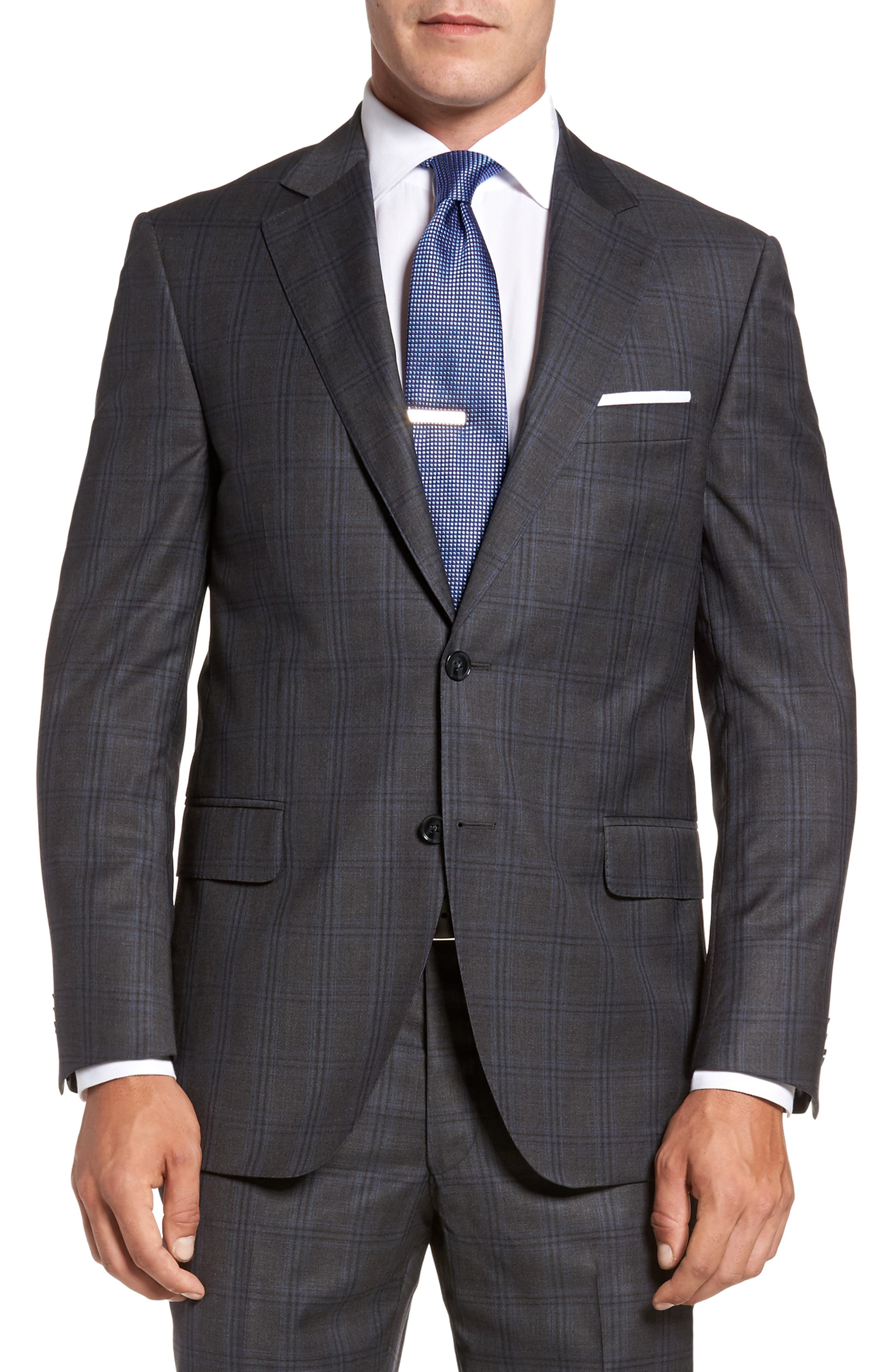 Flynn Classic Fit Plaid Wool Suit,                             Alternate thumbnail 5, color,                             Grey
