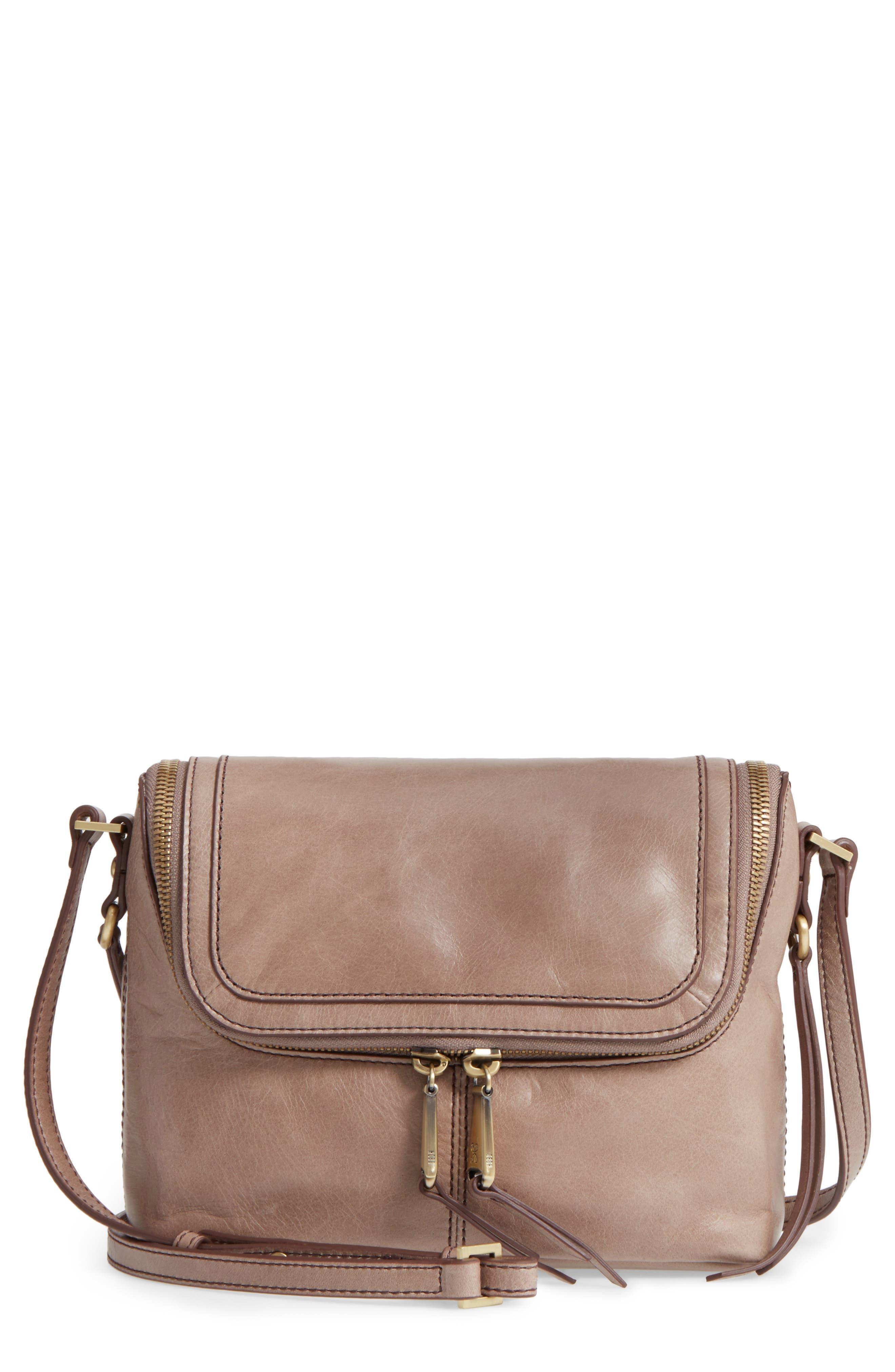 Alibi Calfskin Leather Crossbody Bag,                             Main thumbnail 1, color,                             Ash