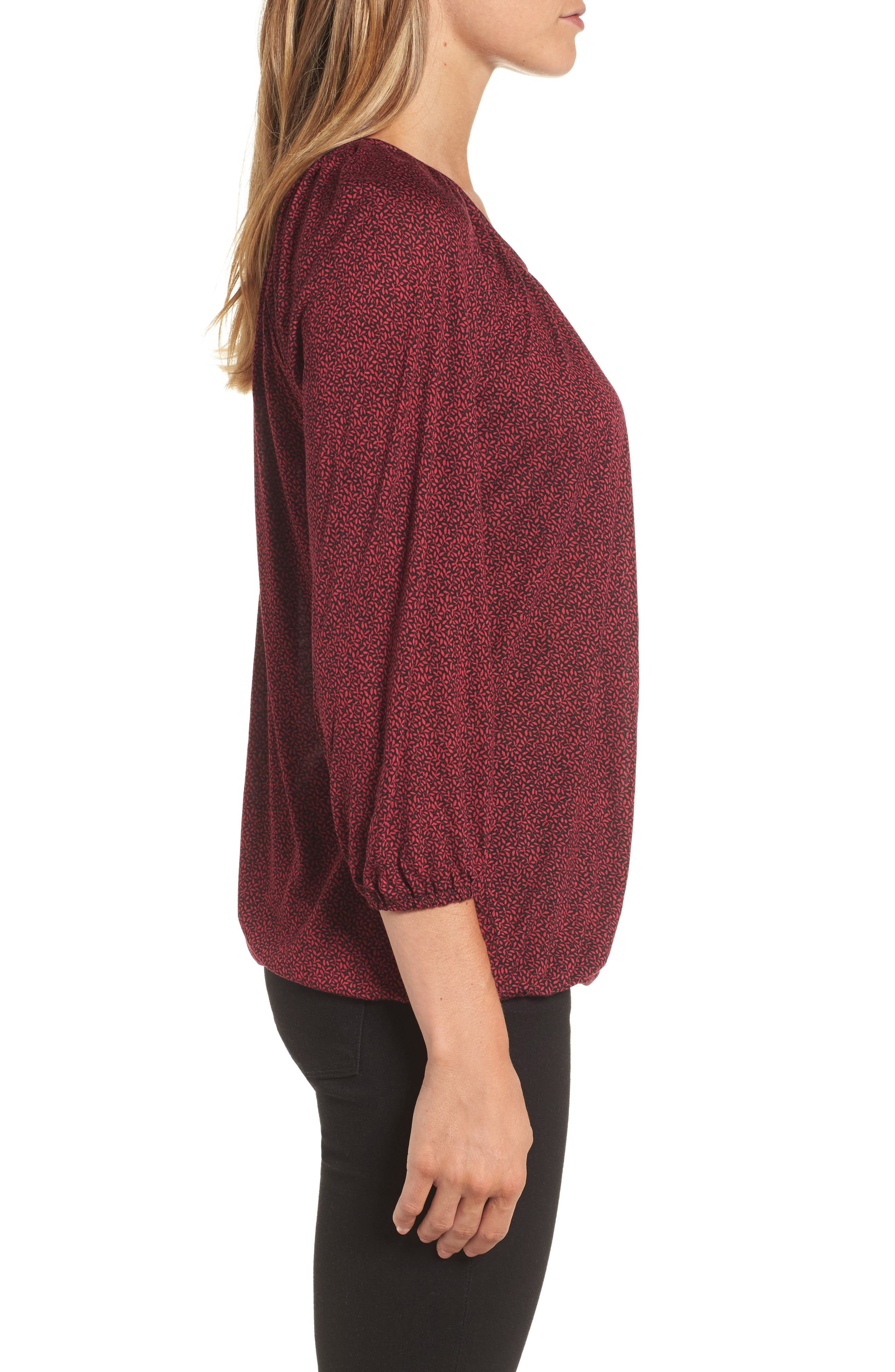 Leaf Print Peasant Top,                             Alternate thumbnail 3, color,                             Raspberry