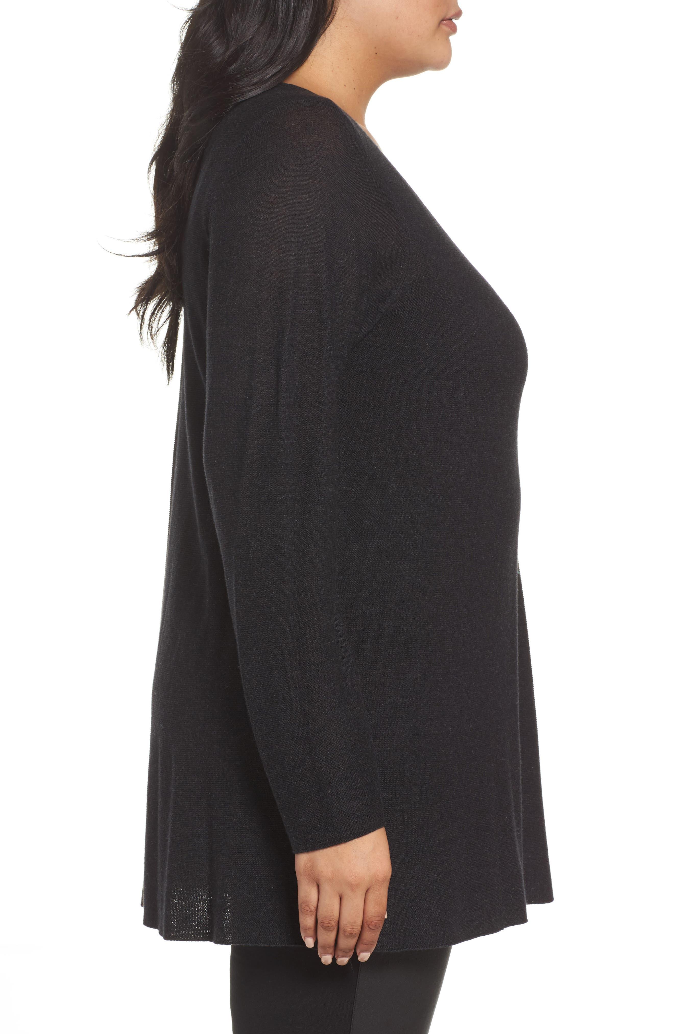 Alternate Image 3  - Eileen Fisher Jewel Neck Tunic Sweater (Plus Size)