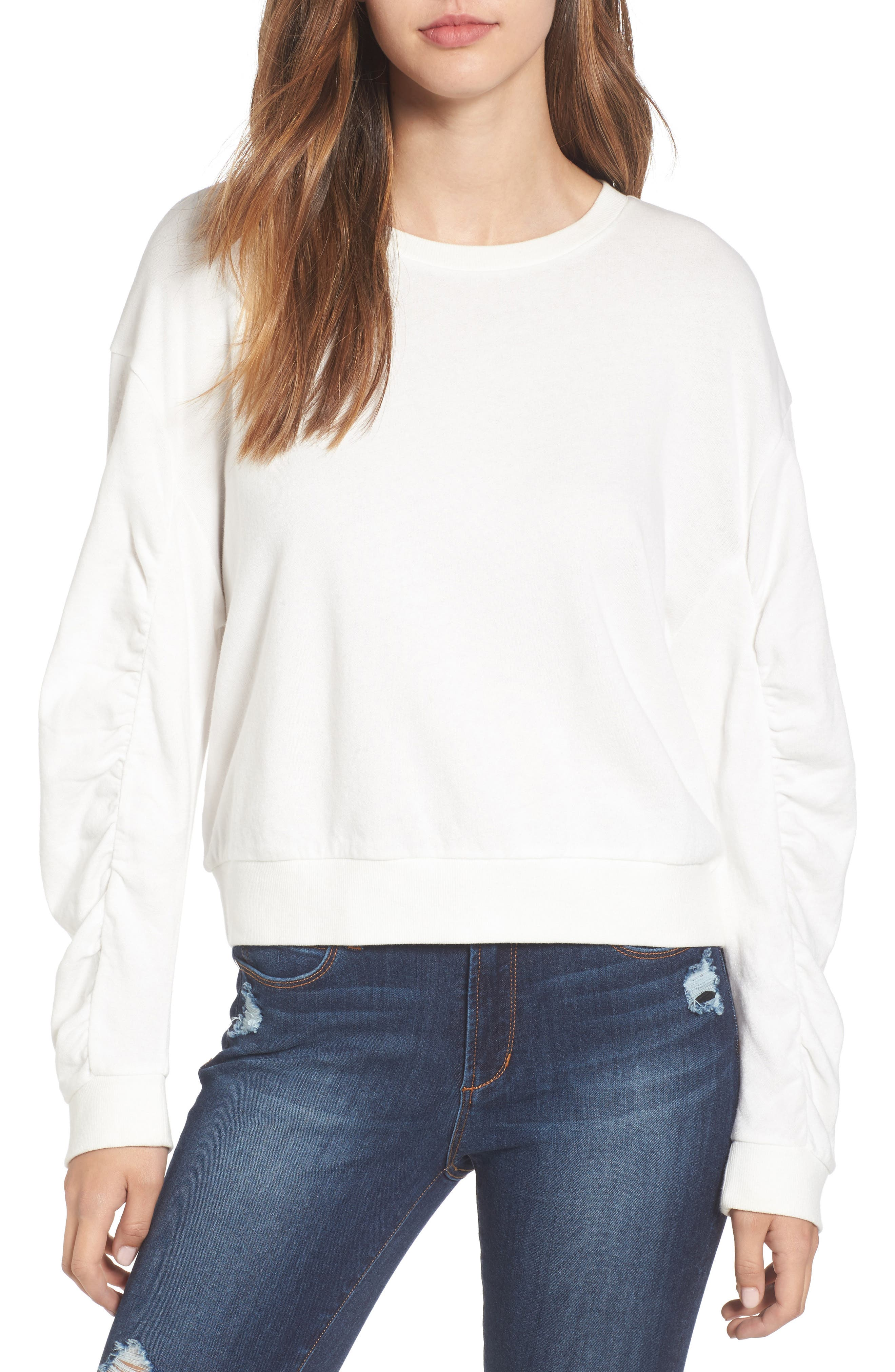 Ruched Sleeve Sweatshirt,                             Main thumbnail 1, color,                             Ivory Cloud
