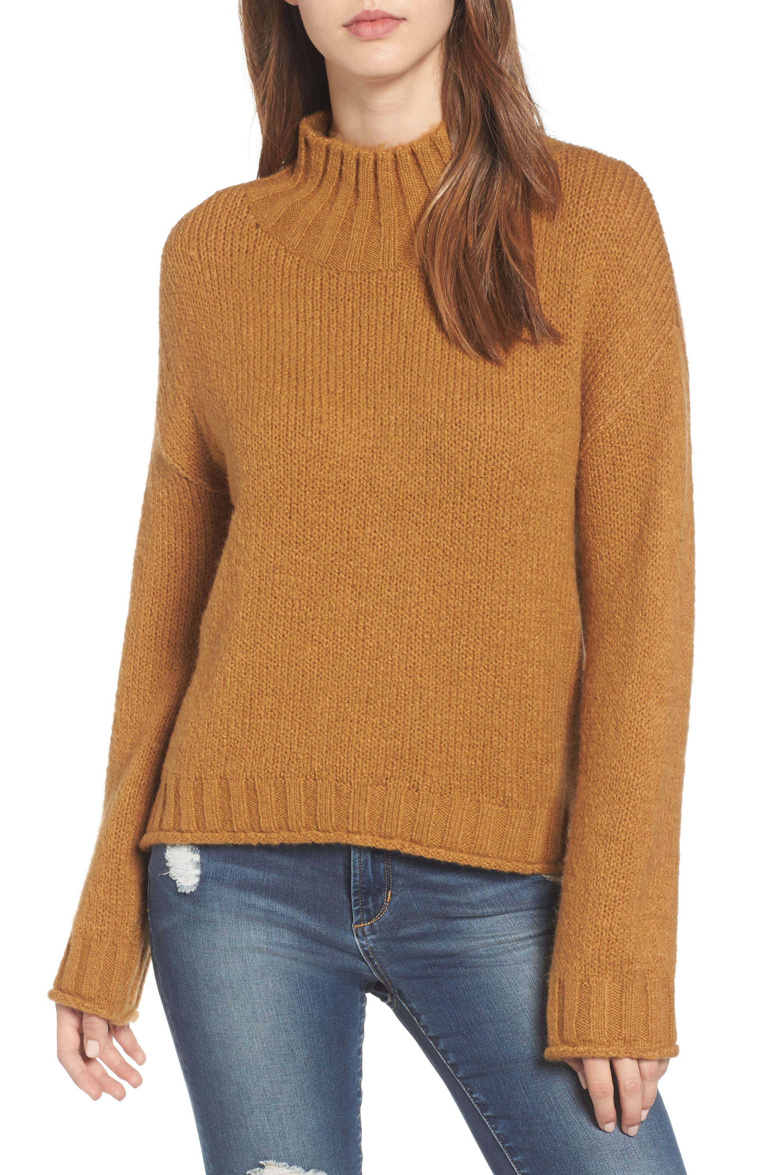 Cozy Mock Neck Sweater,                         Main,                         color, Brown Cattail