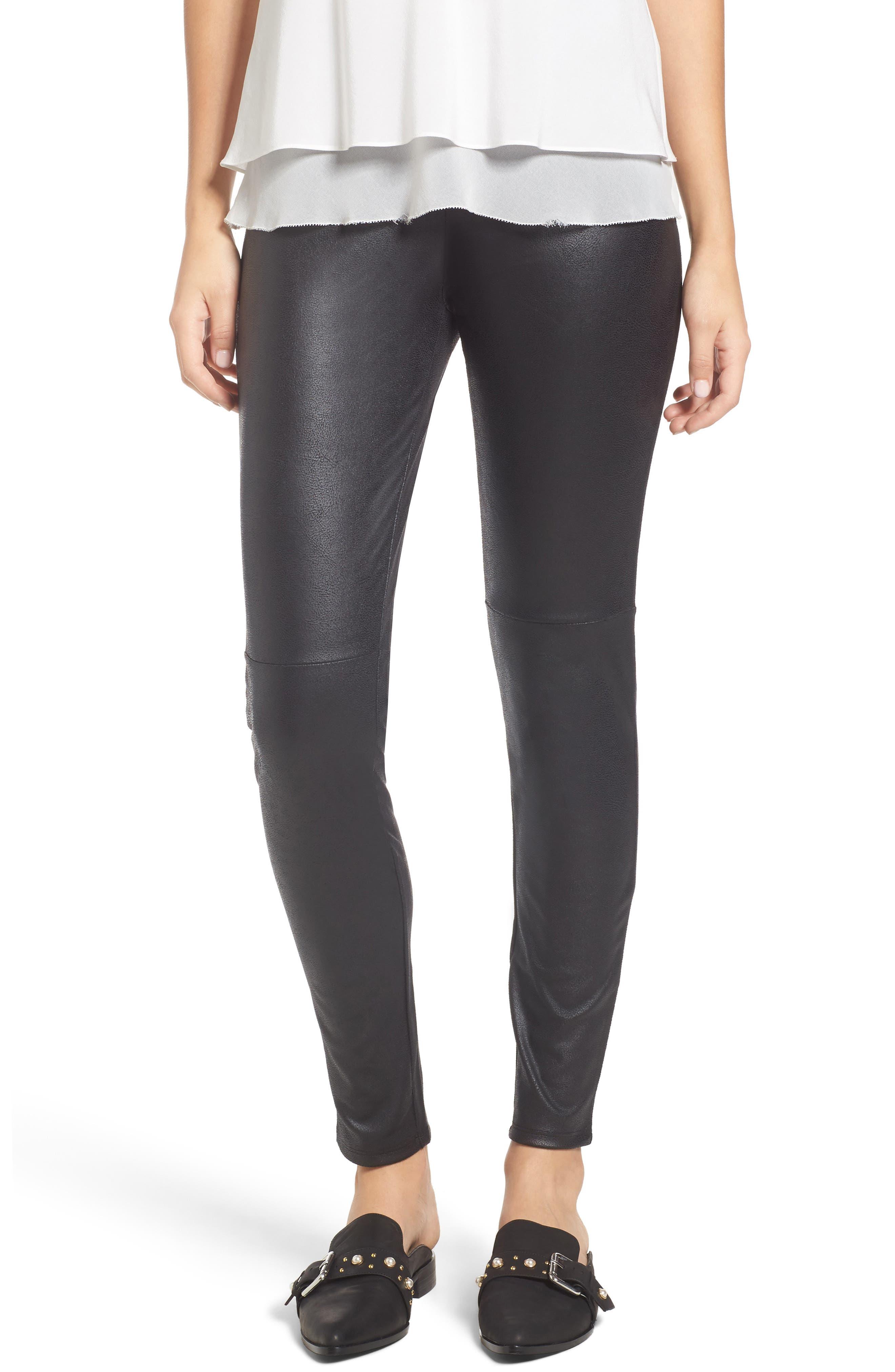Faux denim capri length leggings