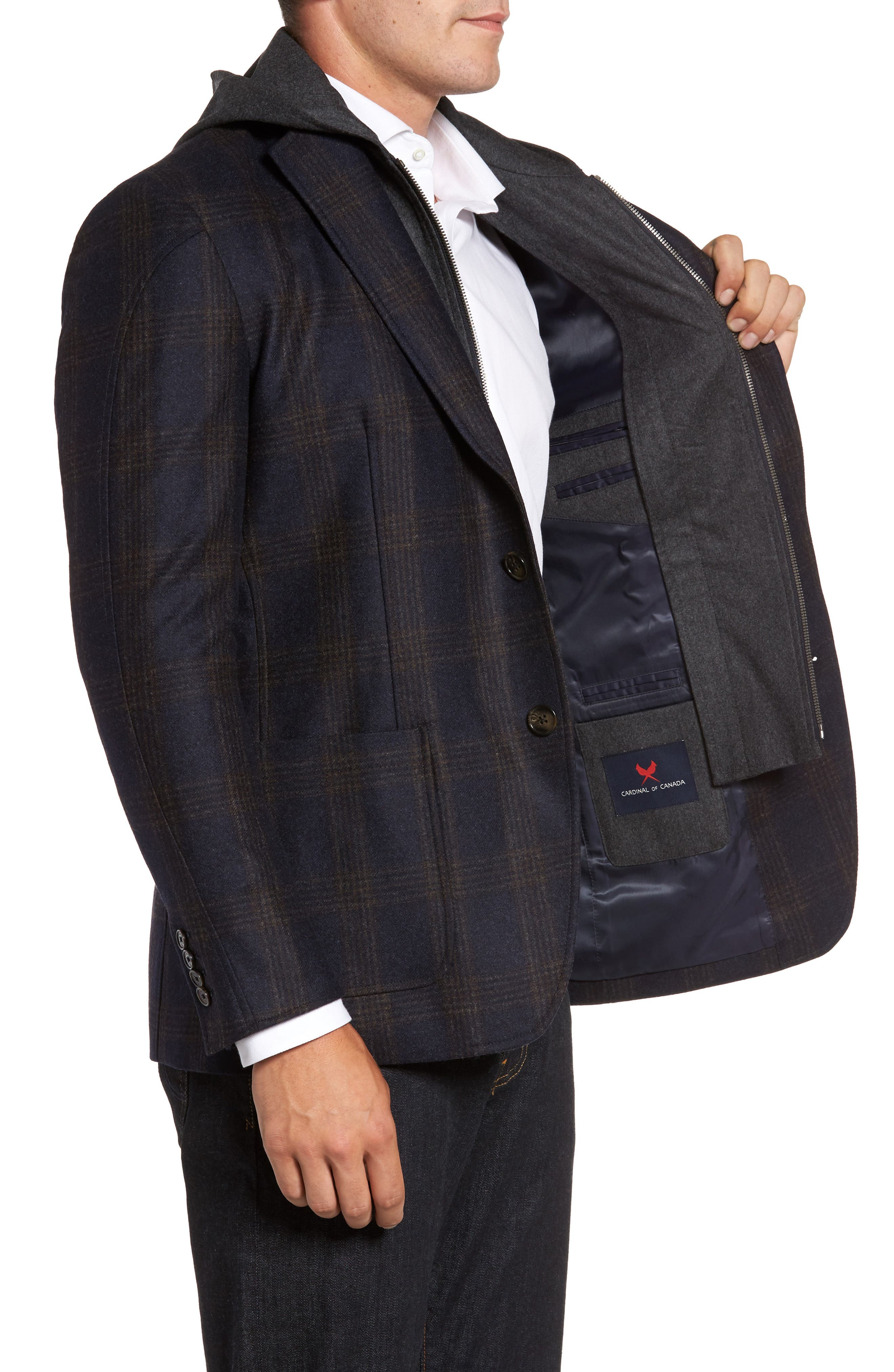 Classic Fit Hooded Sport Coat,                             Alternate thumbnail 3, color,                             Navy Plaid