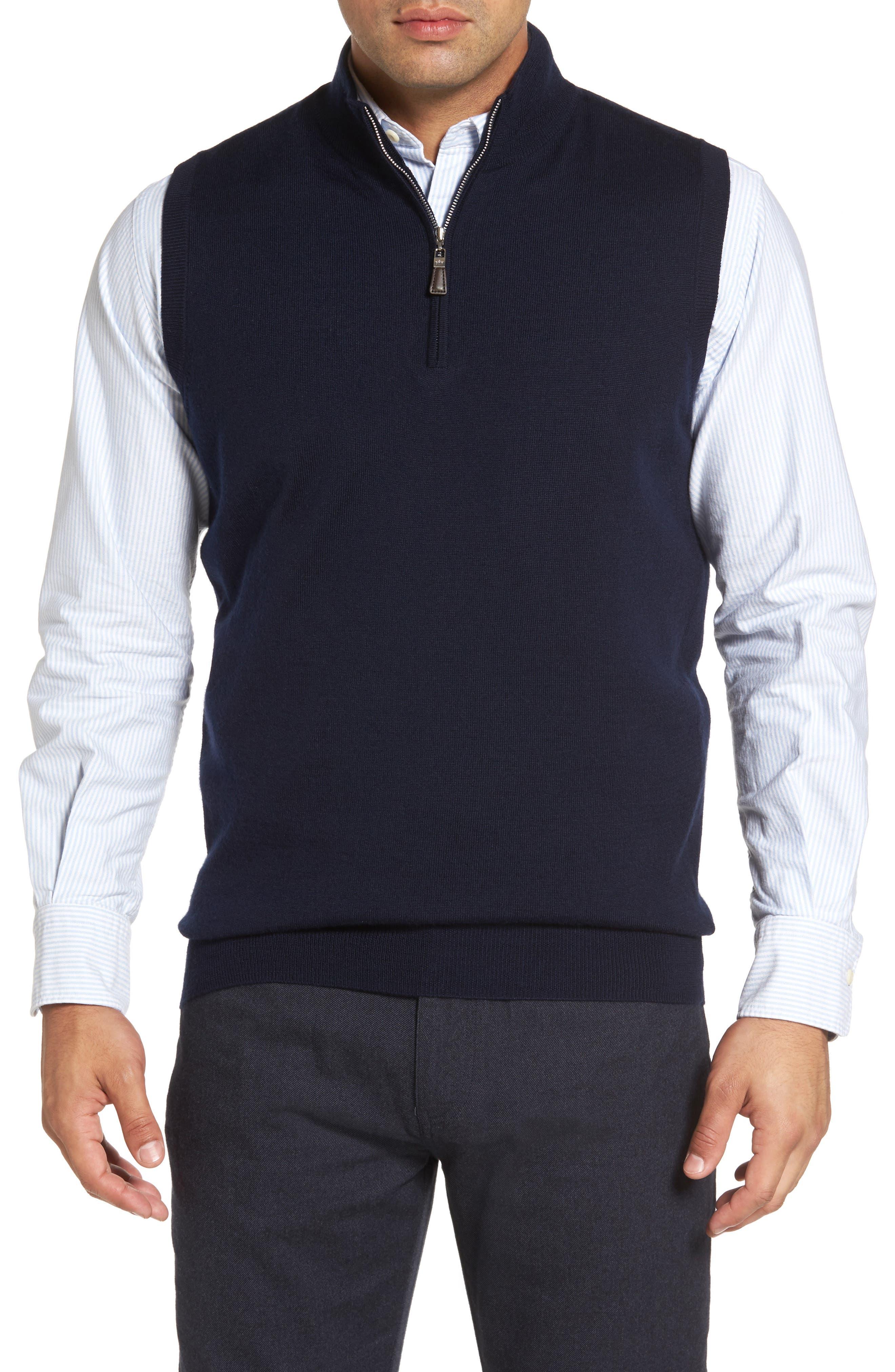 Crown Soft Merino Blend Quarter Zip Vest,                         Main,                         color, Navy