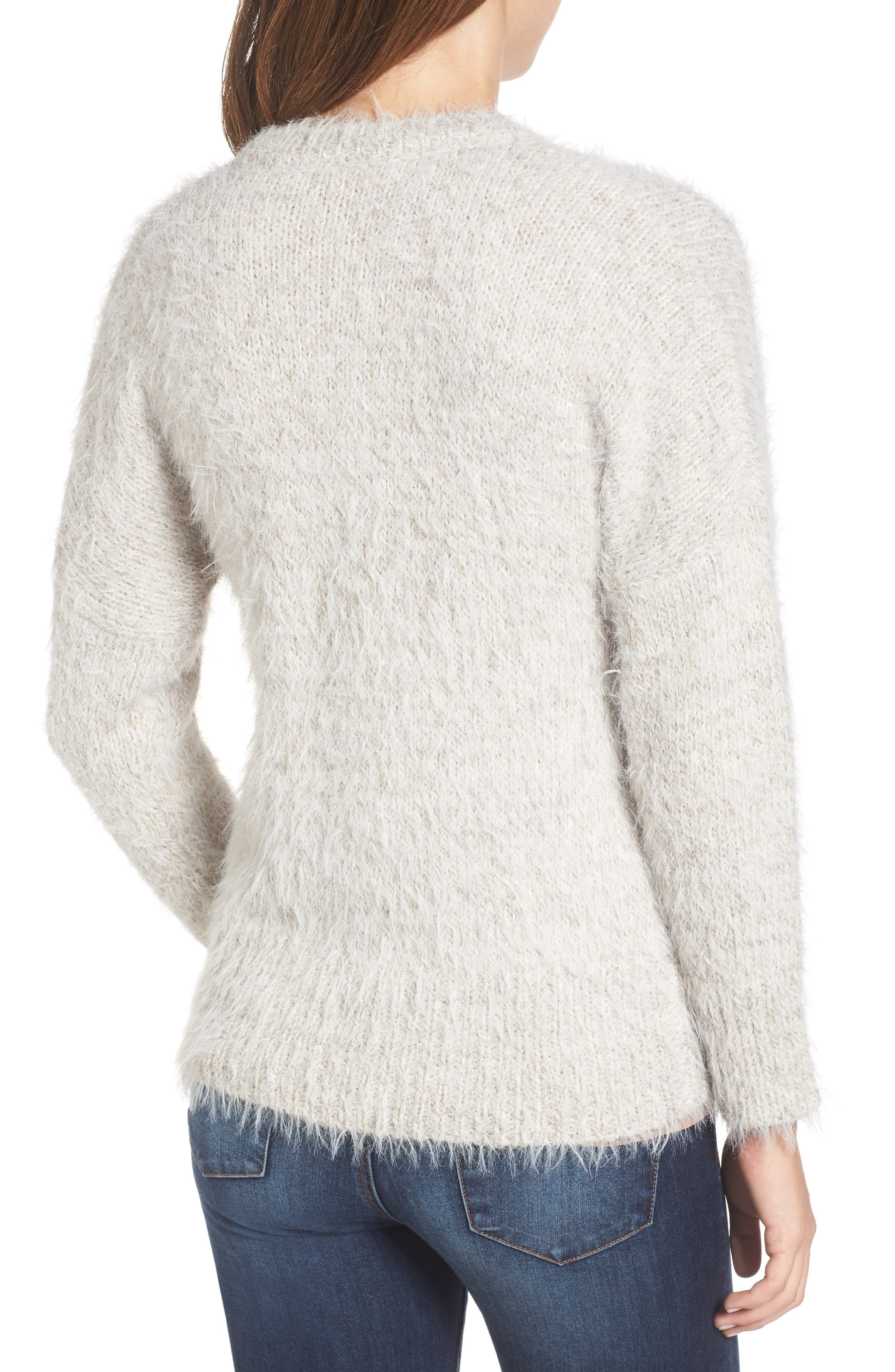 Fuzzy Cardigan,                             Alternate thumbnail 2, color,                             Grey Chateau