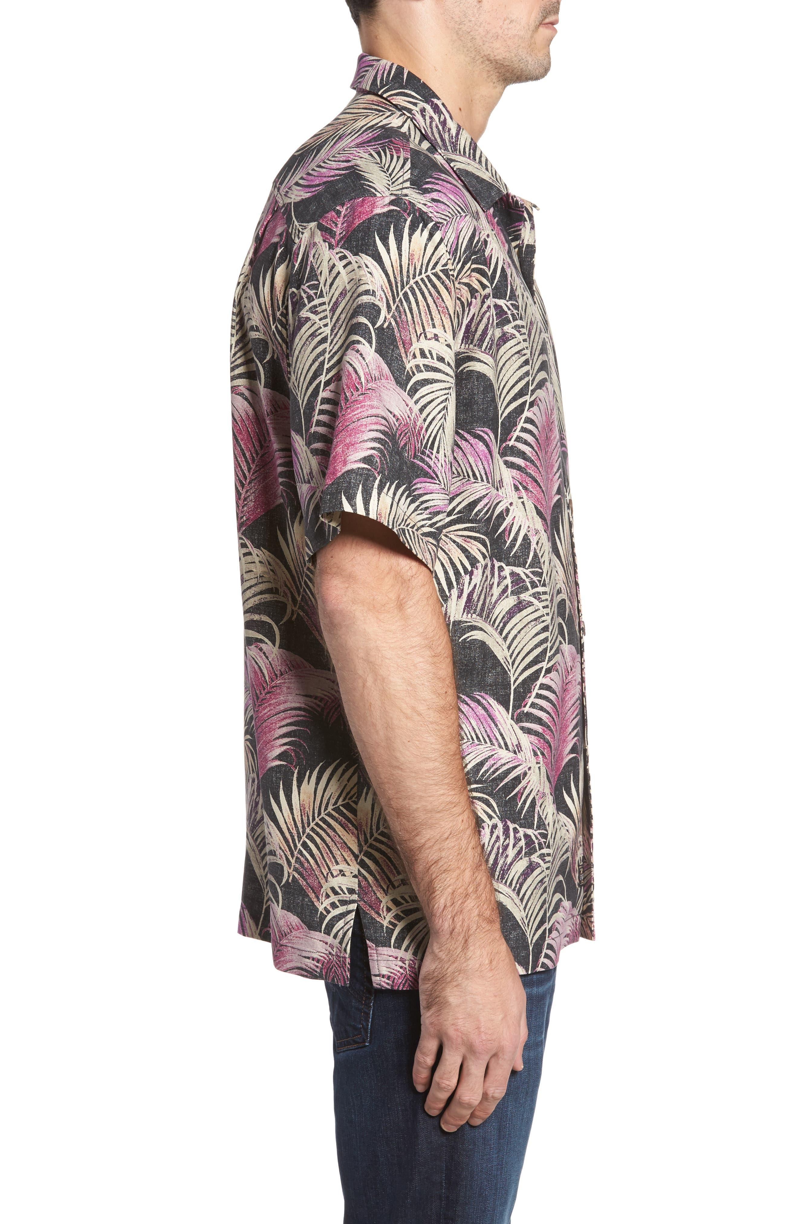 Fez Fronds Standard Fit Silk Camp Shirt,                             Alternate thumbnail 3, color,                             Jet Black