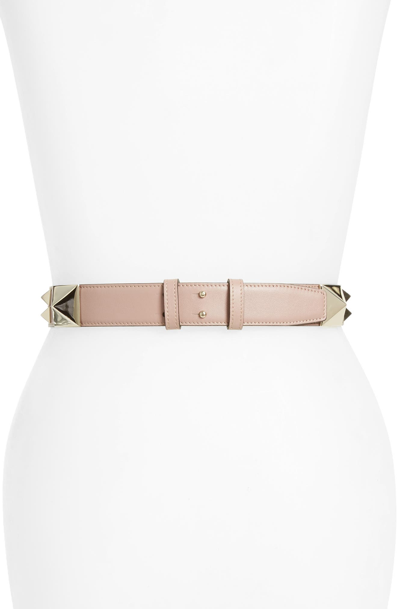 GARAVANI Lovestud Calfskin Leather Belt,                             Alternate thumbnail 2, color,                             Poudre