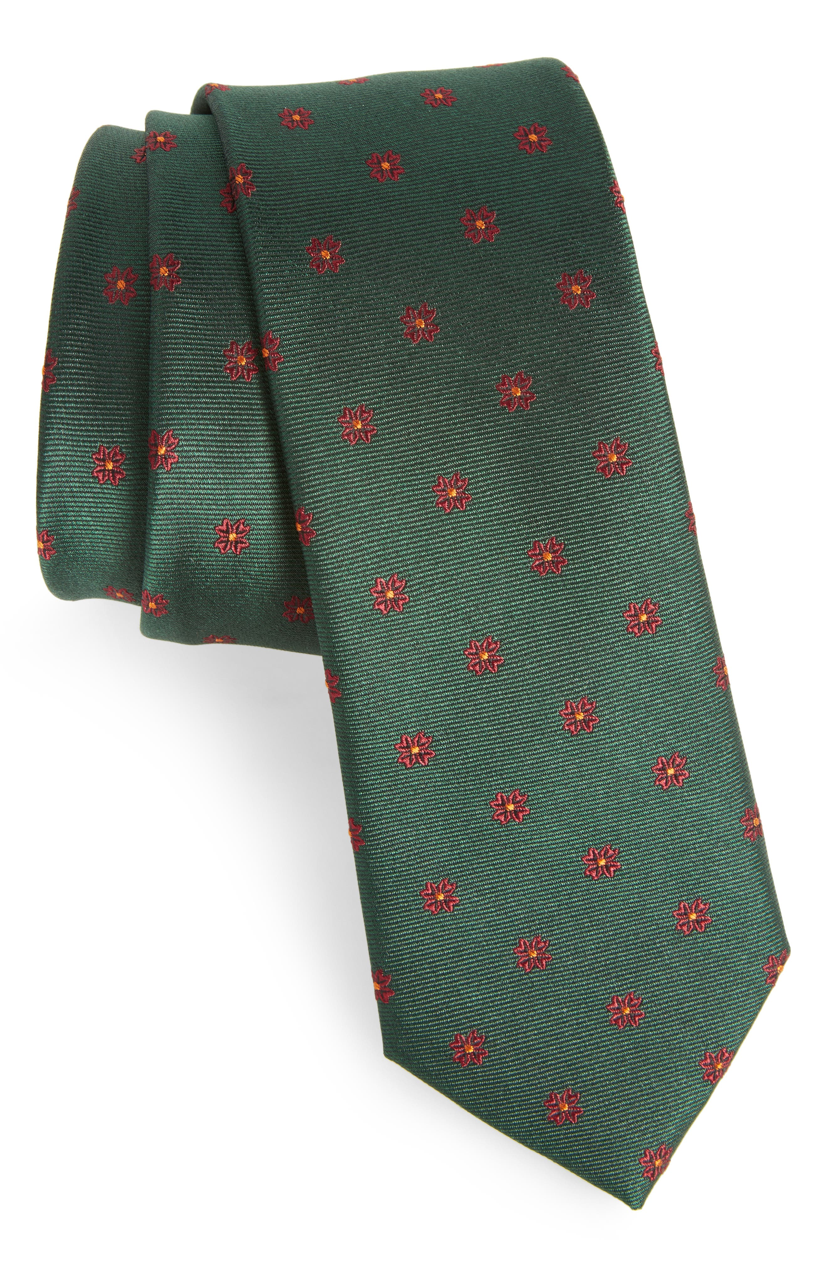 The Tie Bar Floral Span Medallion Silk Tie