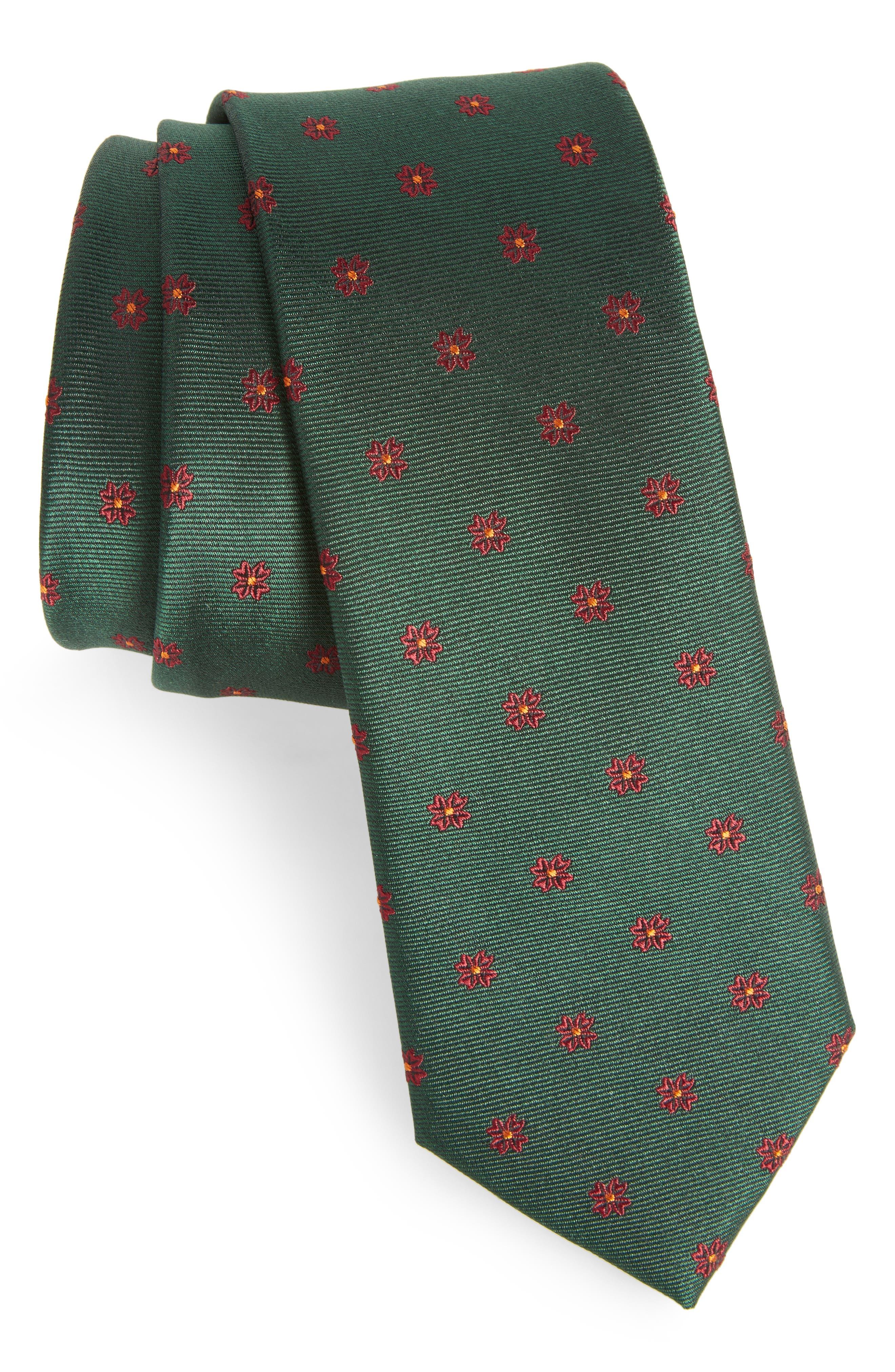 Floral Span Medallion Silk Tie,                         Main,                         color, Hunter Green