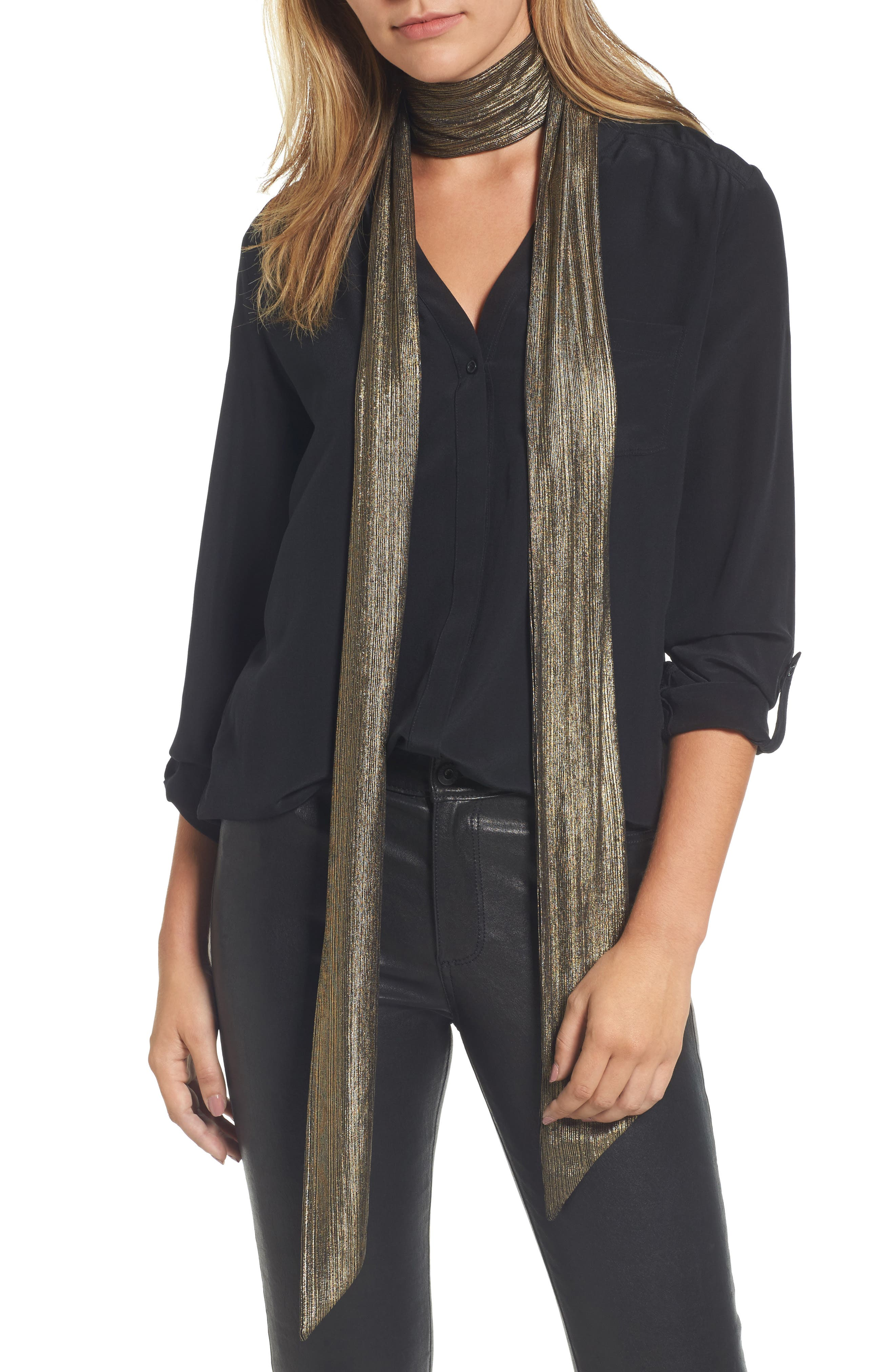 Lamé Skinny Scarf,                             Main thumbnail 1, color,                             Gold