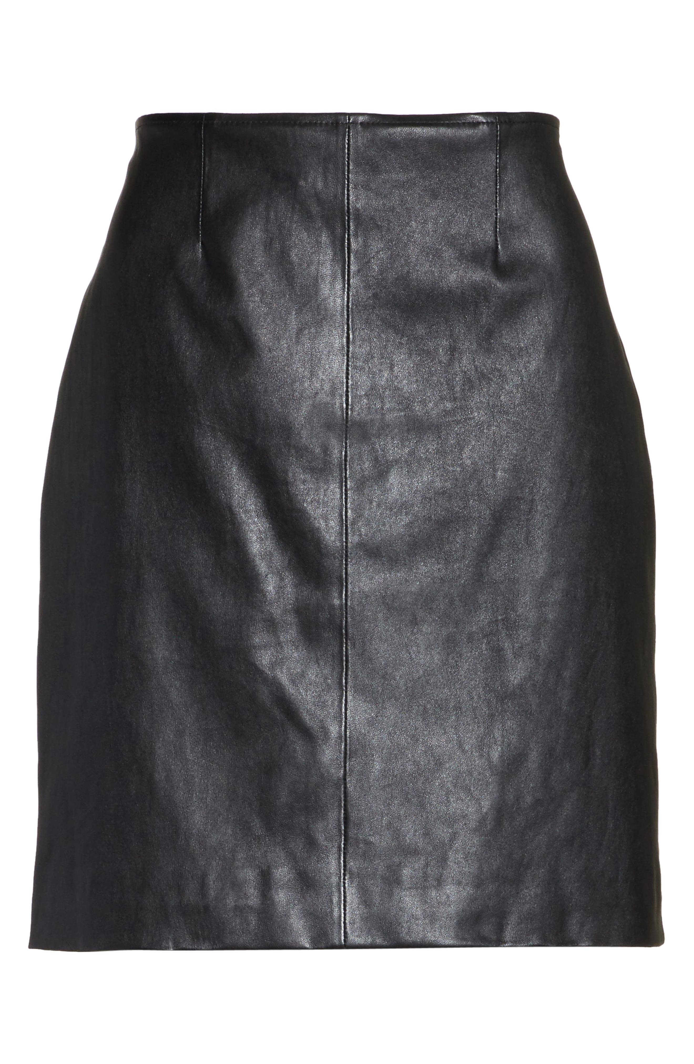 Stretch Nappa Leather Skirt,                             Alternate thumbnail 6, color,                             Caviar