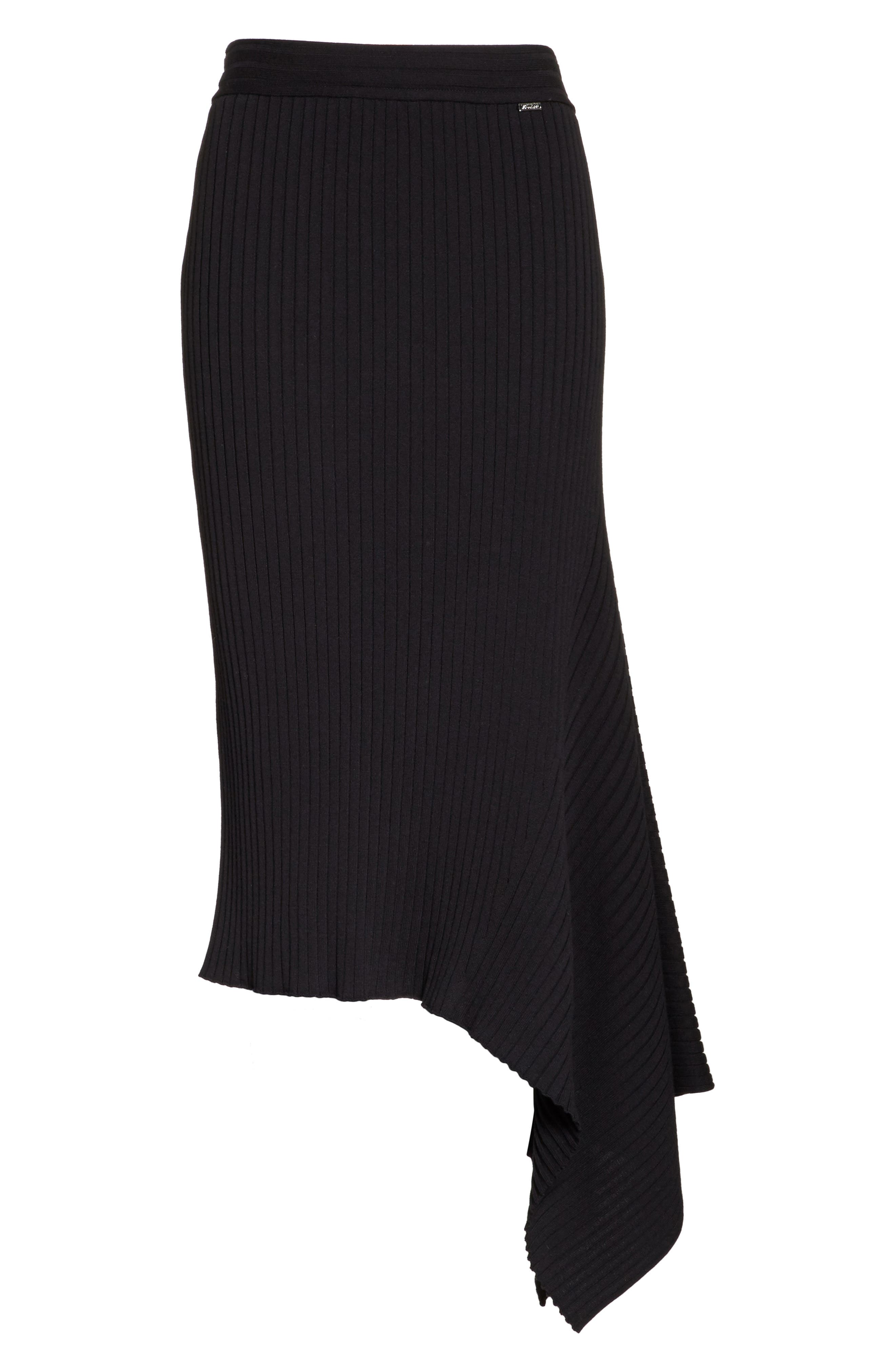 Flat Rib Knit Asymmetrical Skirt,                             Alternate thumbnail 7, color,                             Caviar
