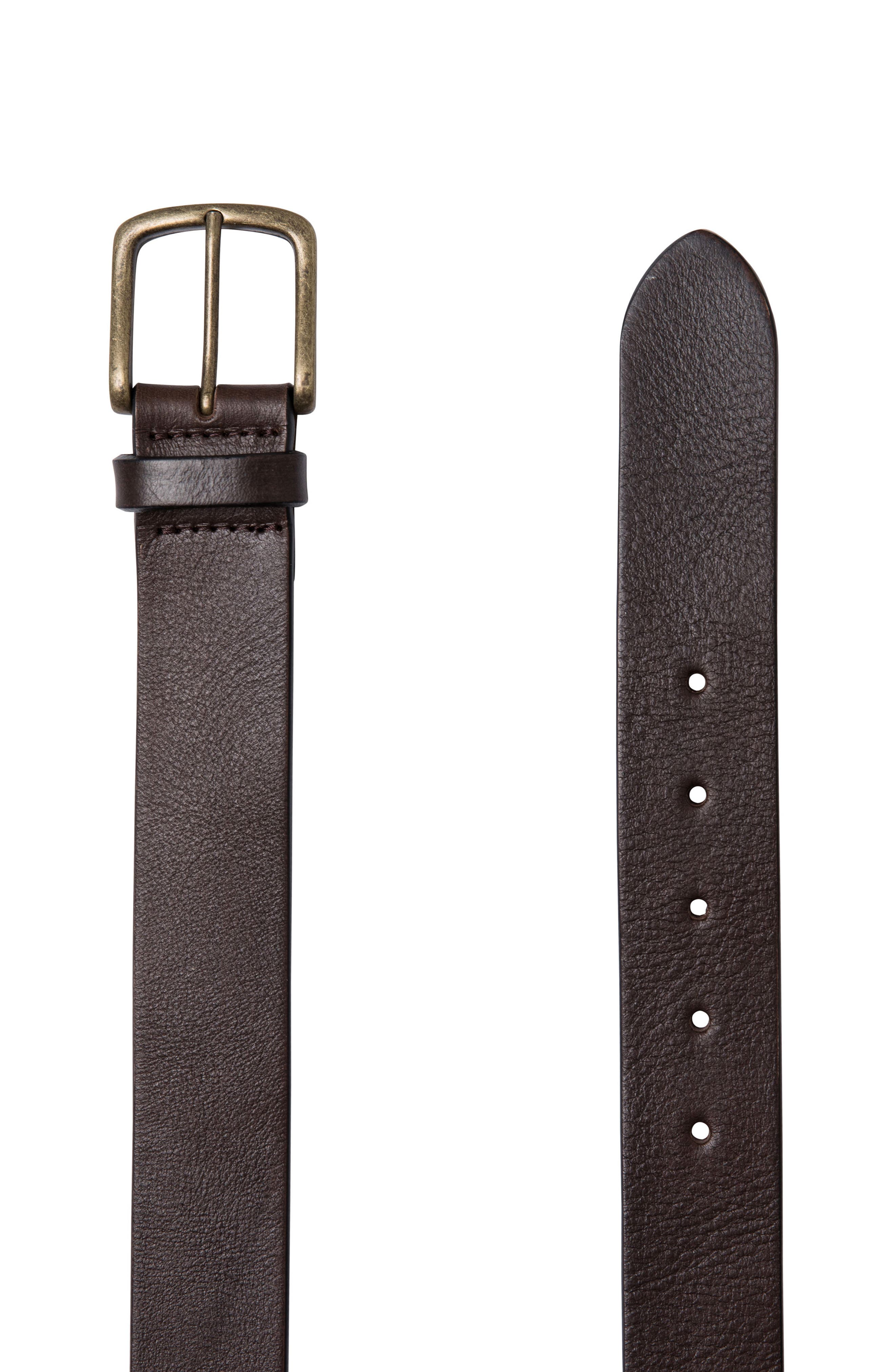 Treble Cone Leather Belt,                             Main thumbnail 1, color,                             Mud