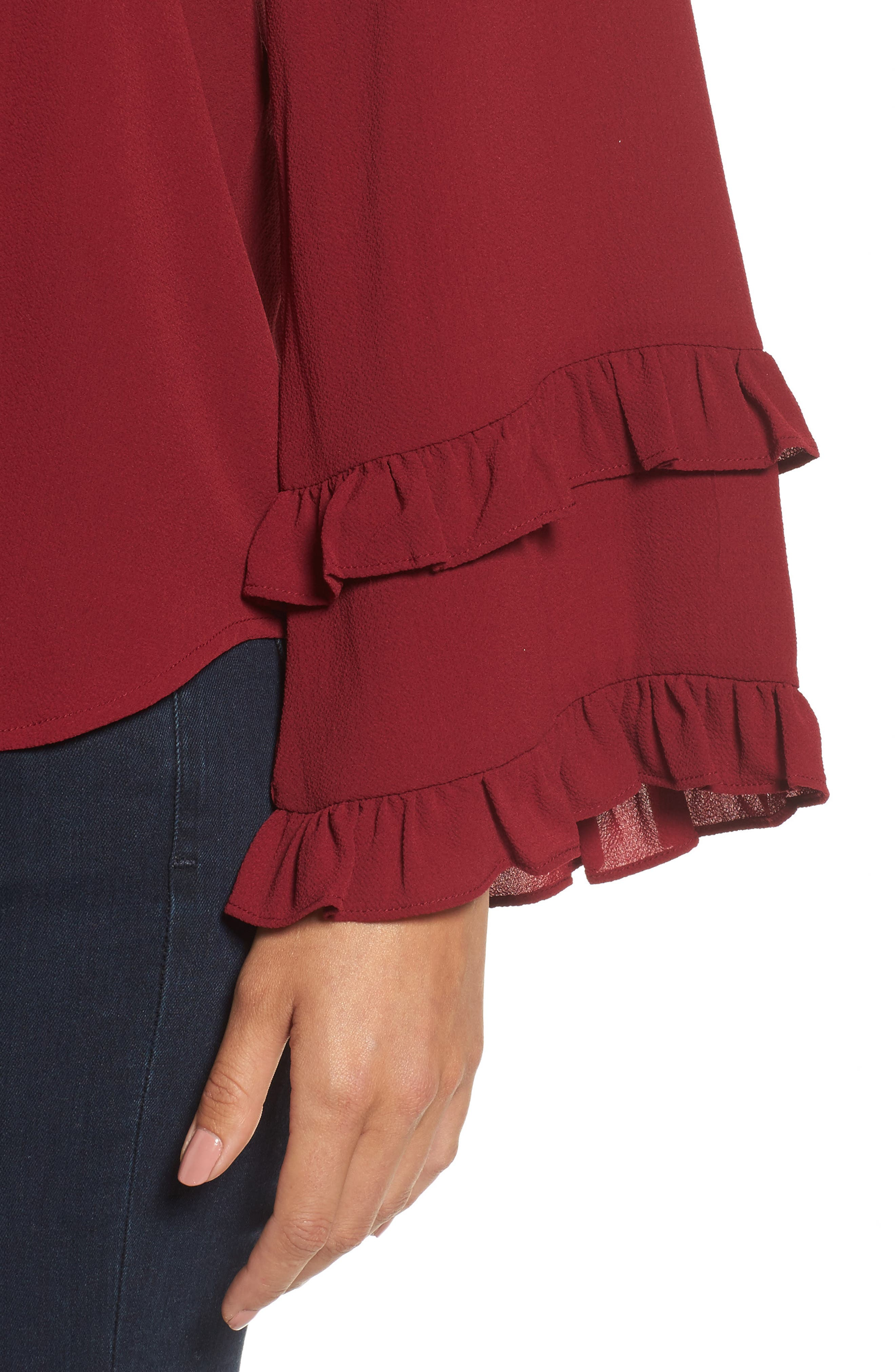 Ruffle Bell Sleeve Top,                             Alternate thumbnail 4, color,                             Wine