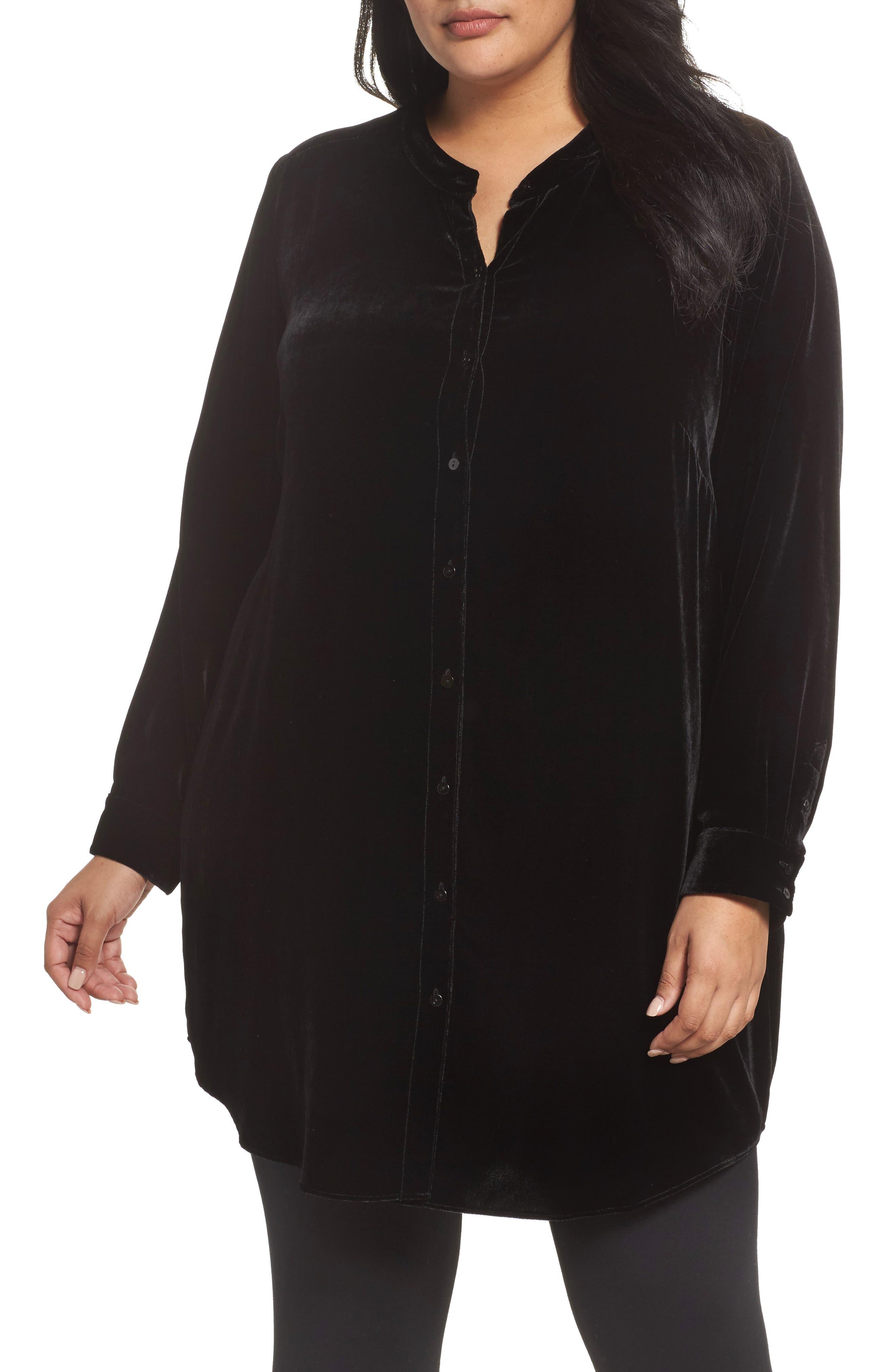 Eileen Fisher Long Velvet Shirt (Plus Size)