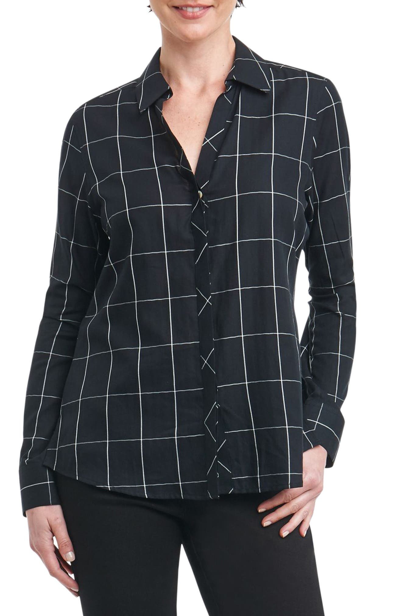 Foxcroft Nicole Windowpane Print Shirt (Regular & Petite)