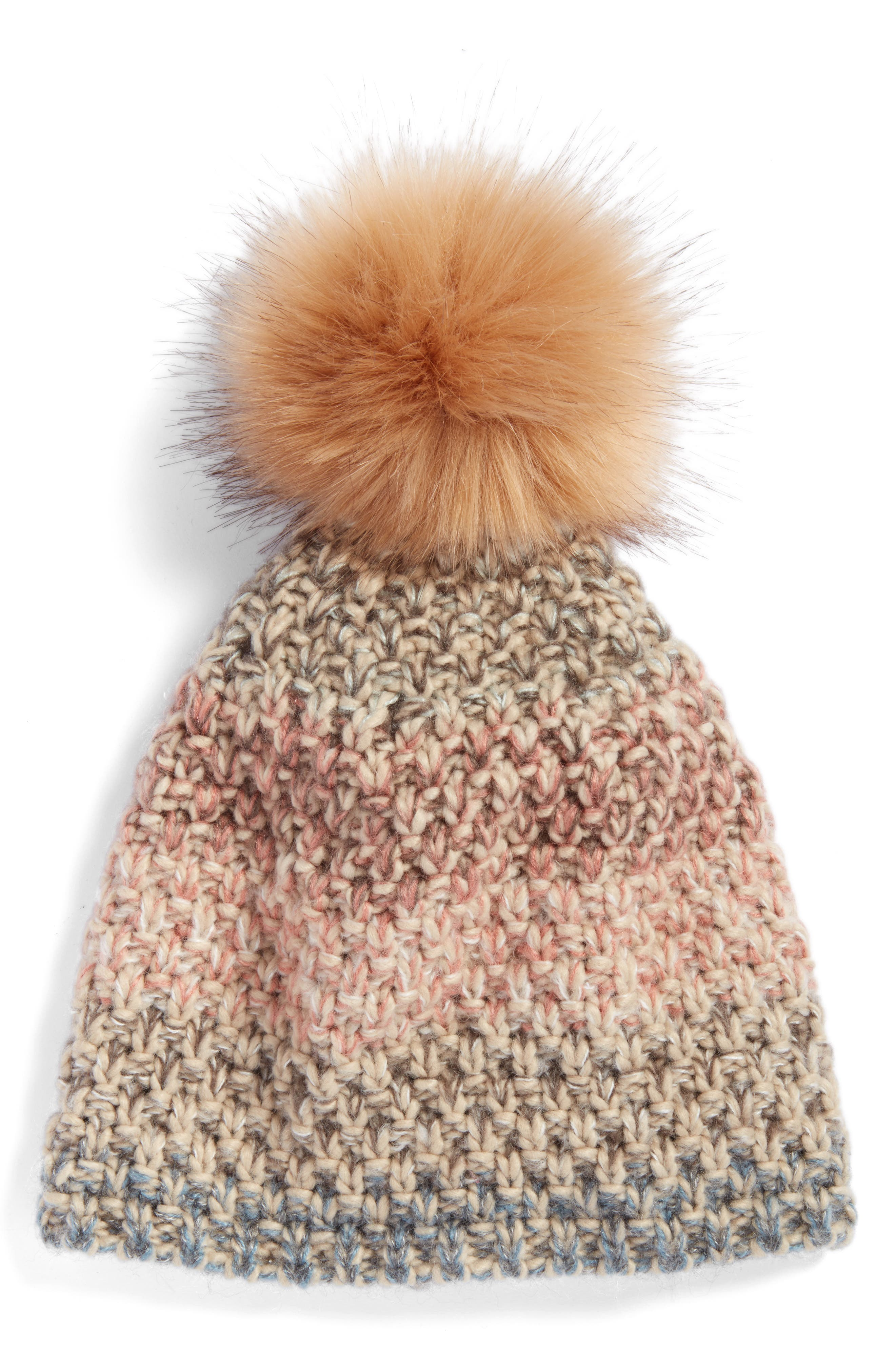 Treasure & Bond Mixed Crochet Beanie with Faux Fur Pom