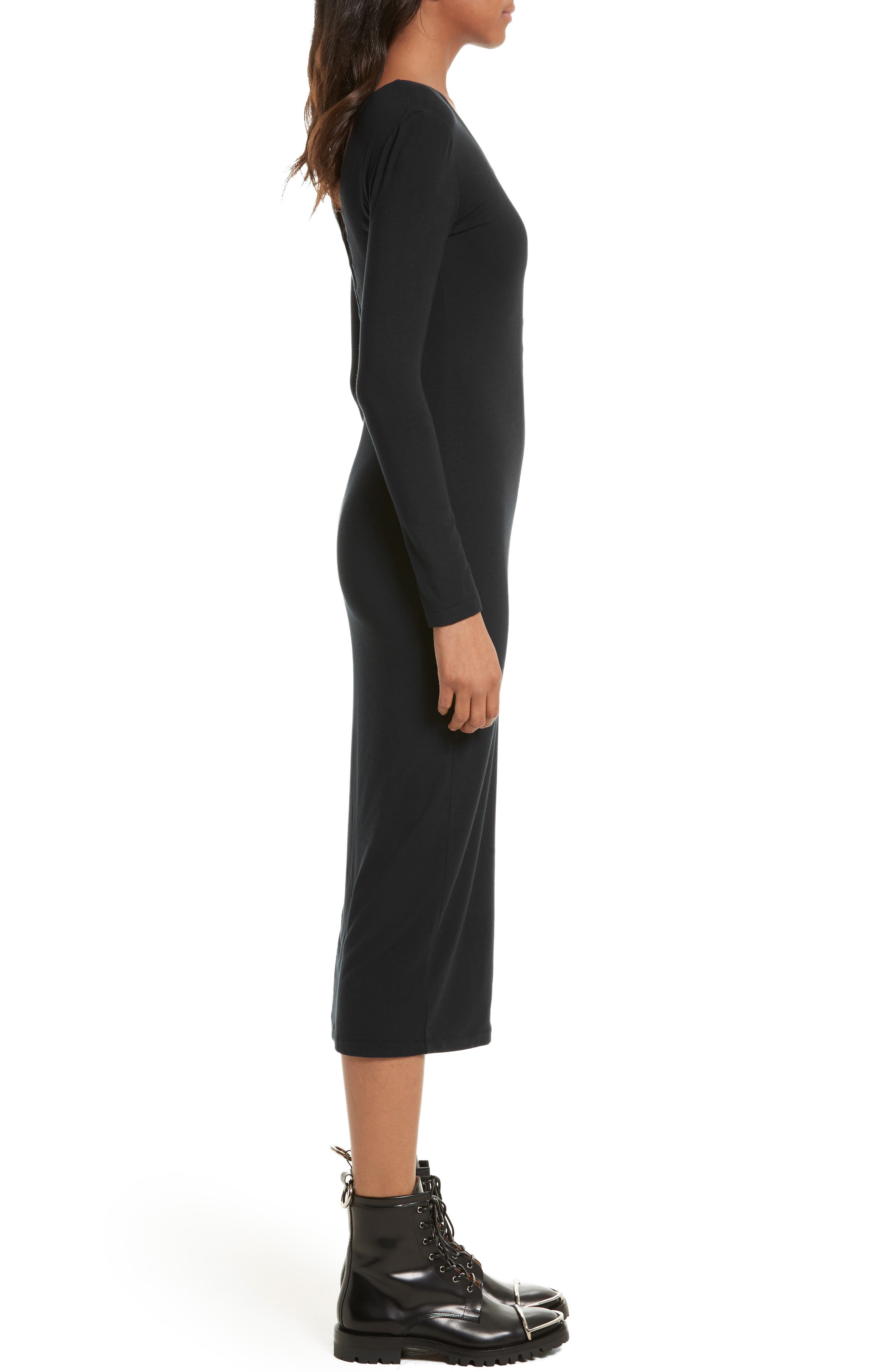 Alternate Image 3  - T by Alexander Wang Lace-Up Stretch Jersey Midi Dress