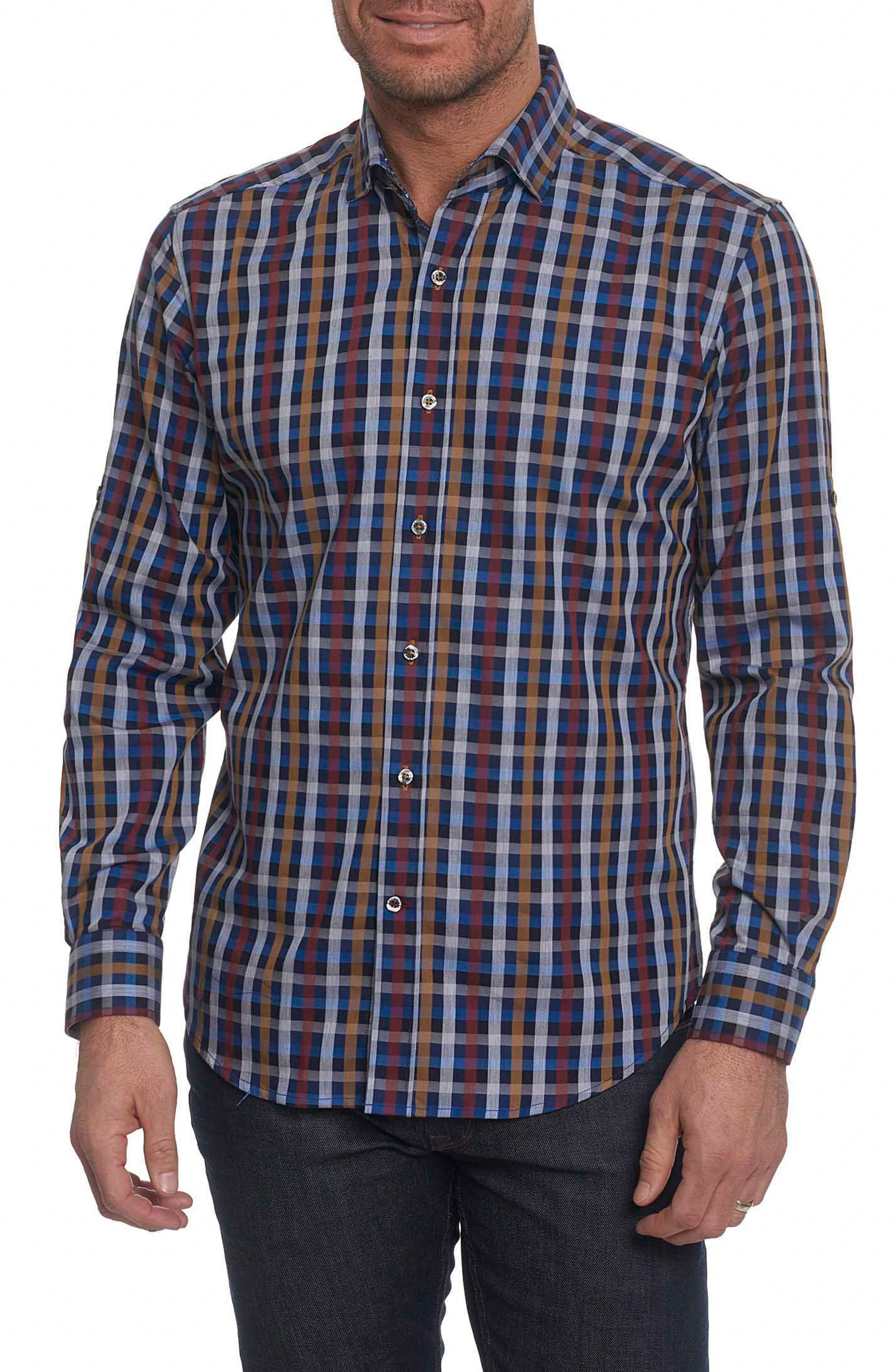 Carsons Tailored Fit Check Sport Shirt,                             Main thumbnail 1, color,                             Blue