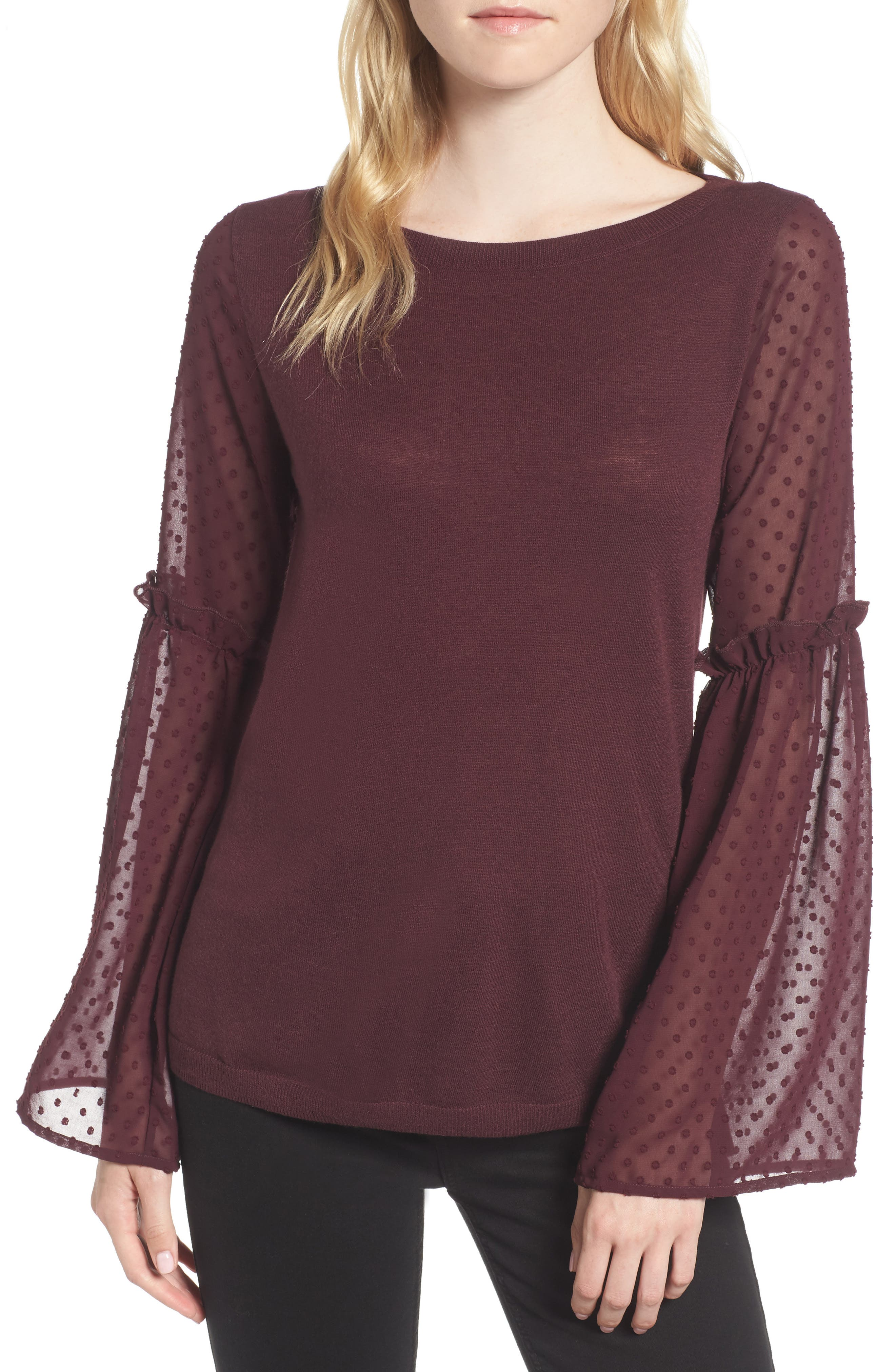 Bell Sleeve Sweater,                             Main thumbnail 1, color,                             Burgundy Stem