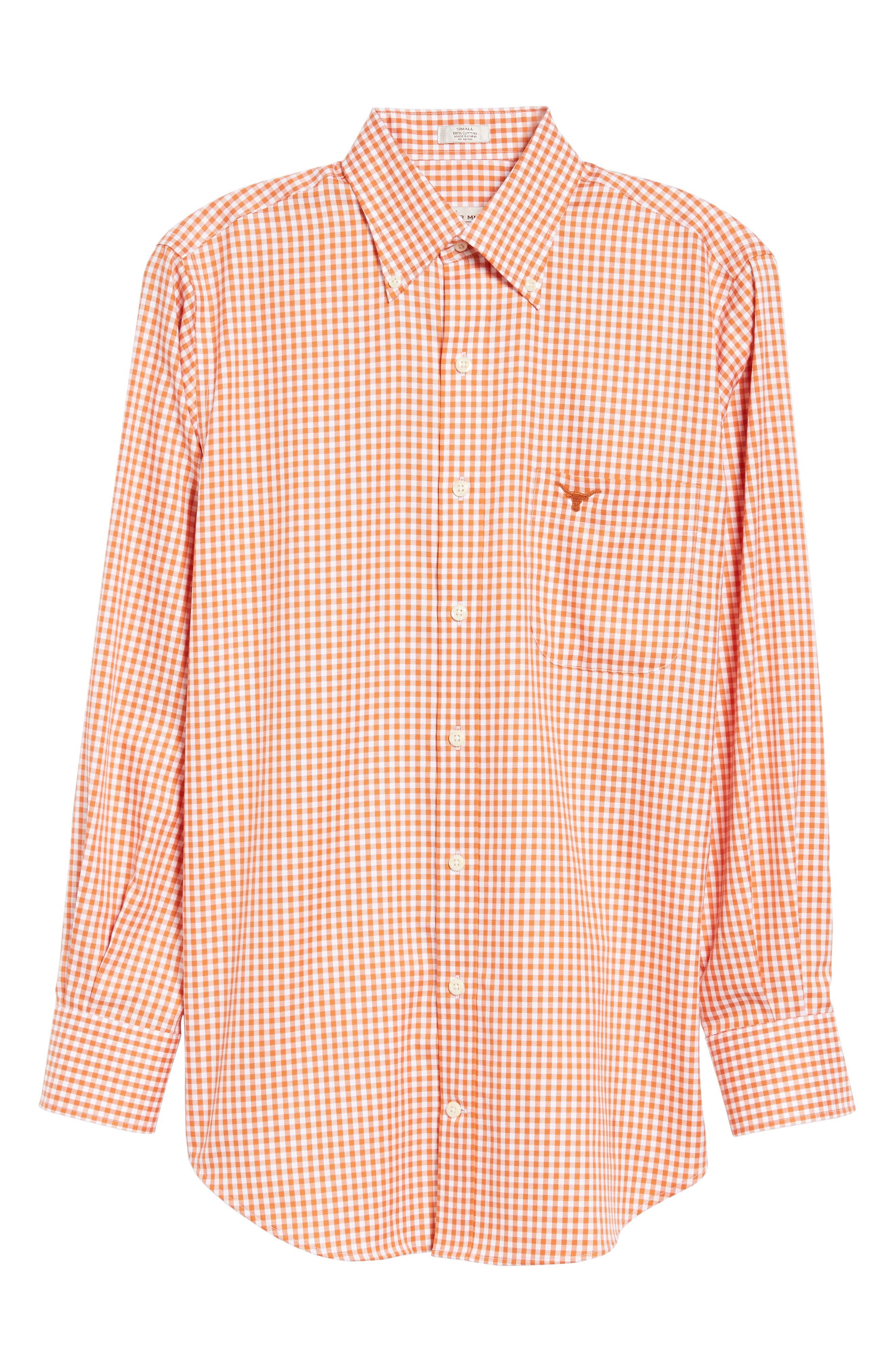 Texas Regular Fit Microcheck Sport Shirt,                             Alternate thumbnail 6, color,                             Rust